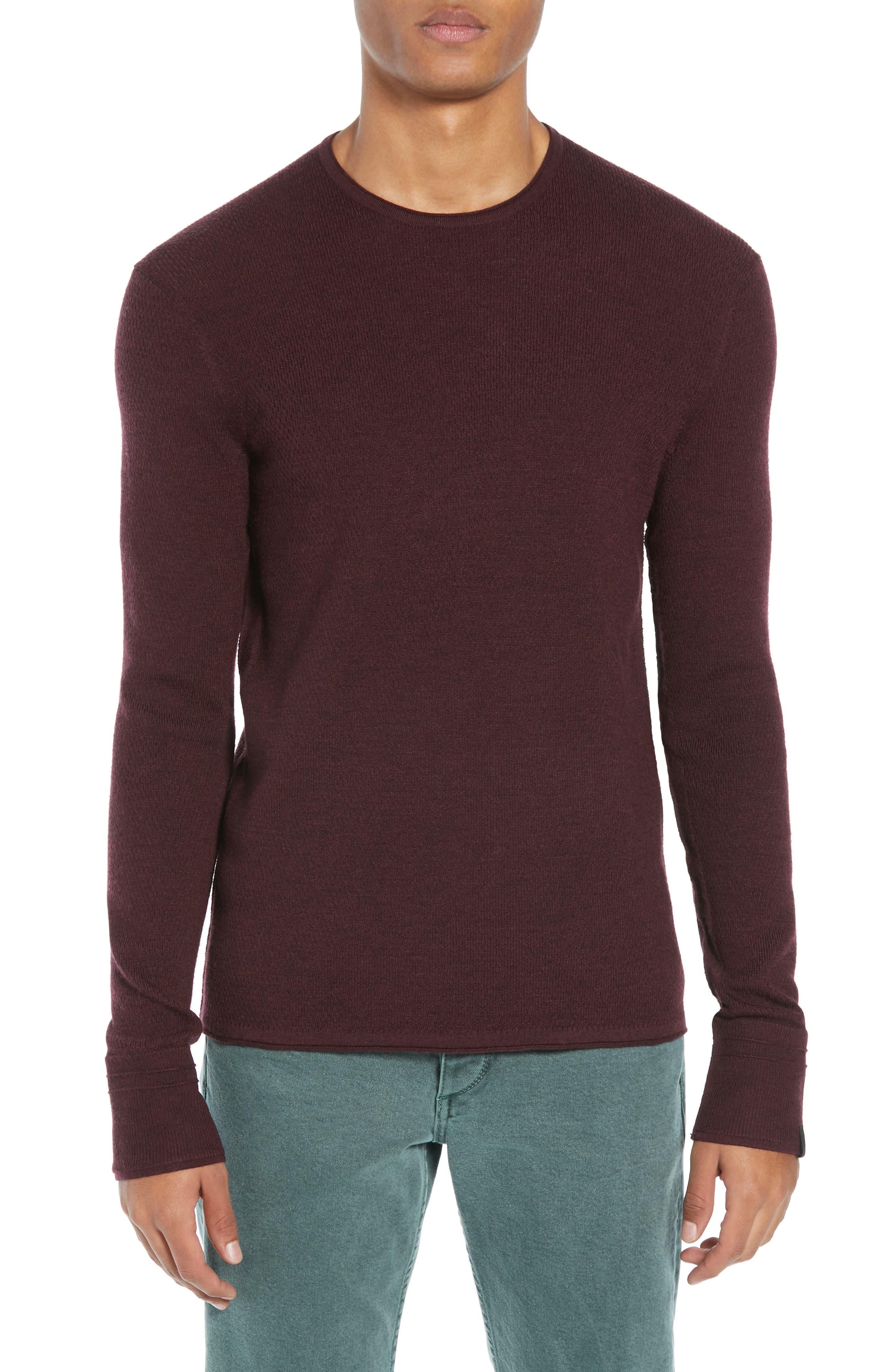 Gregory Merino Wool Blend Crewneck Sweater,                             Main thumbnail 1, color,                             BURGUNDY