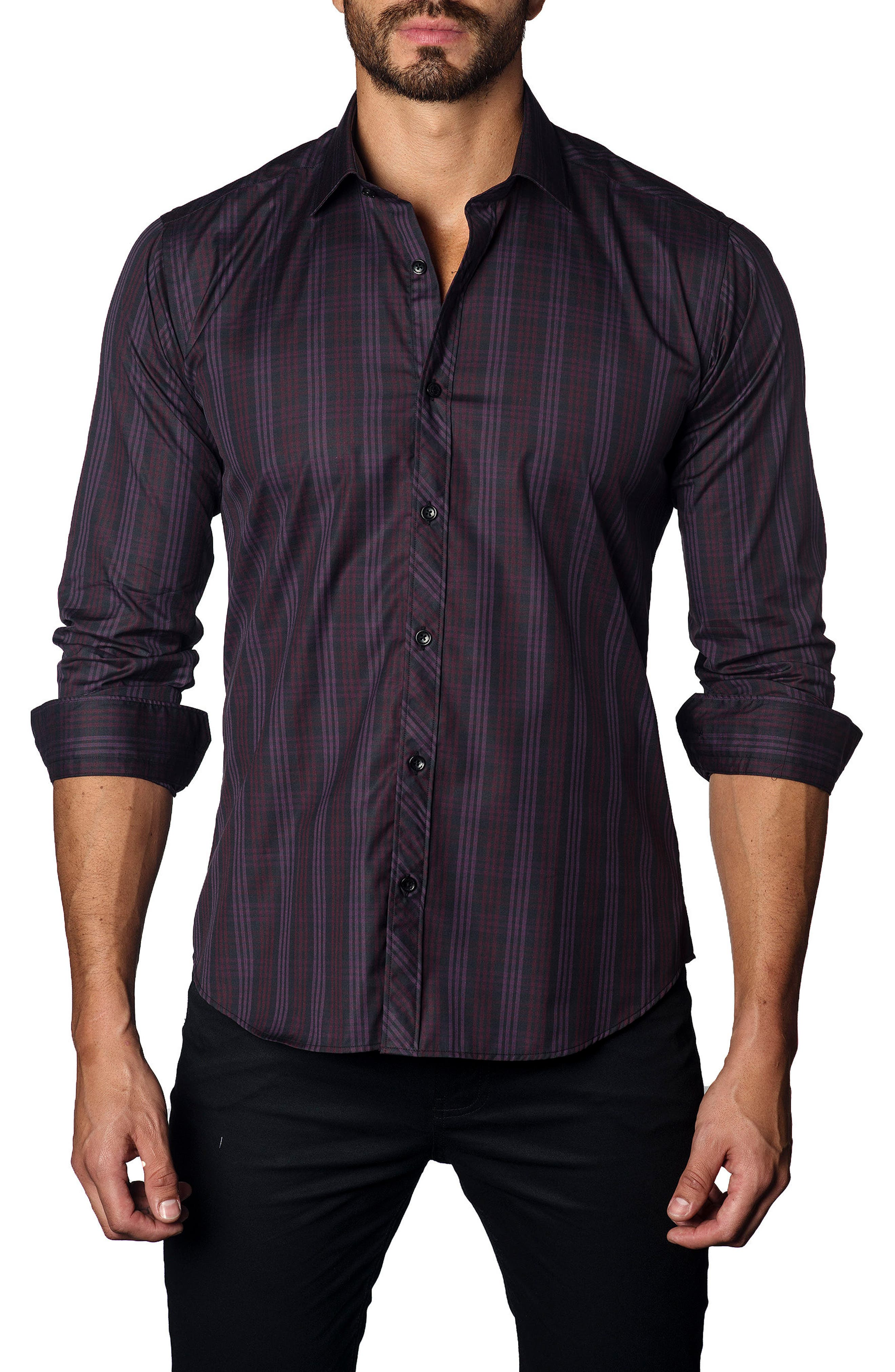 Trim Fit Plaid Sport Shirt,                         Main,                         color, 500