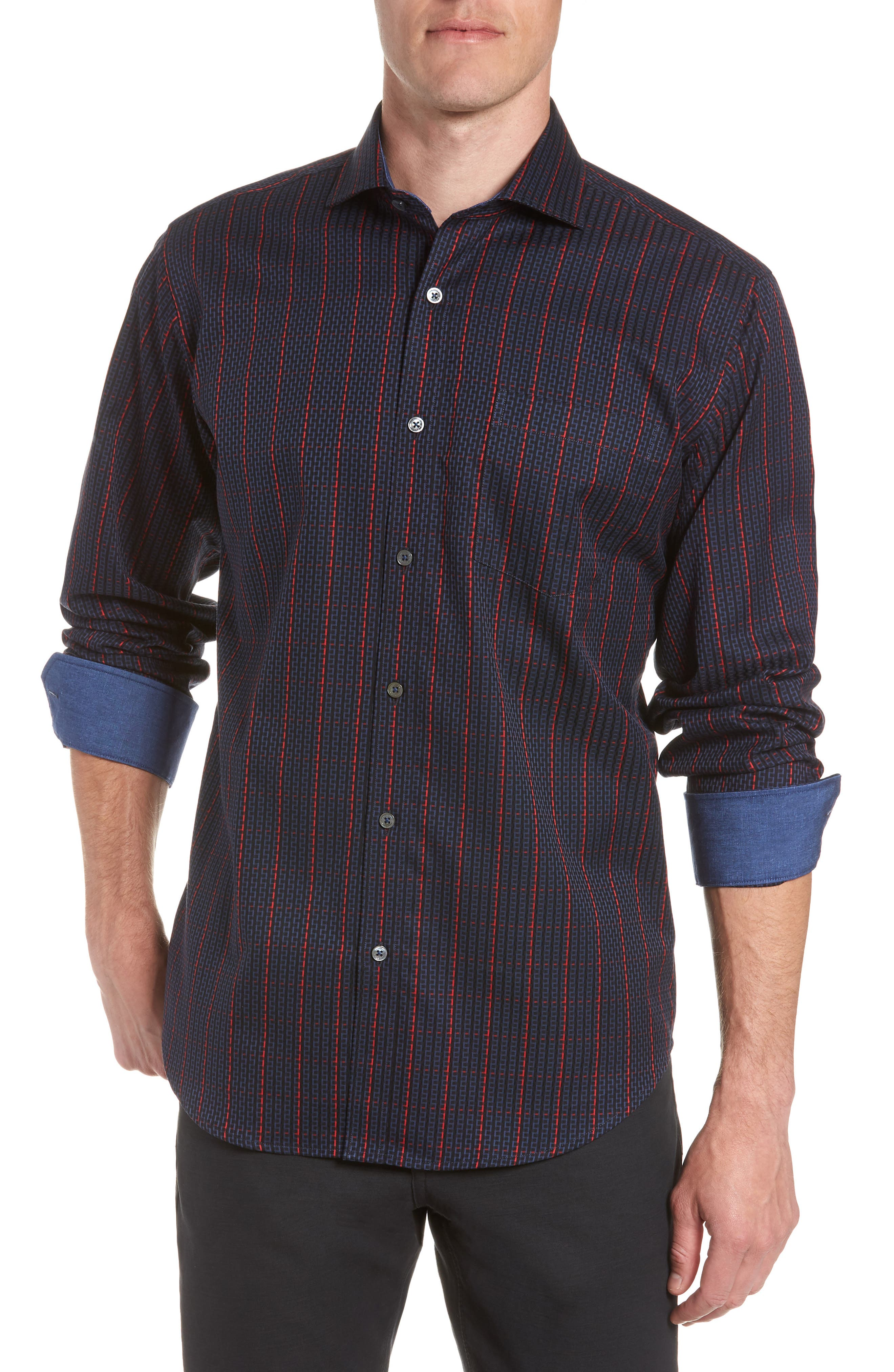 Classic Fit Woven Sport Shirt,                         Main,                         color, NIGHT BLUE