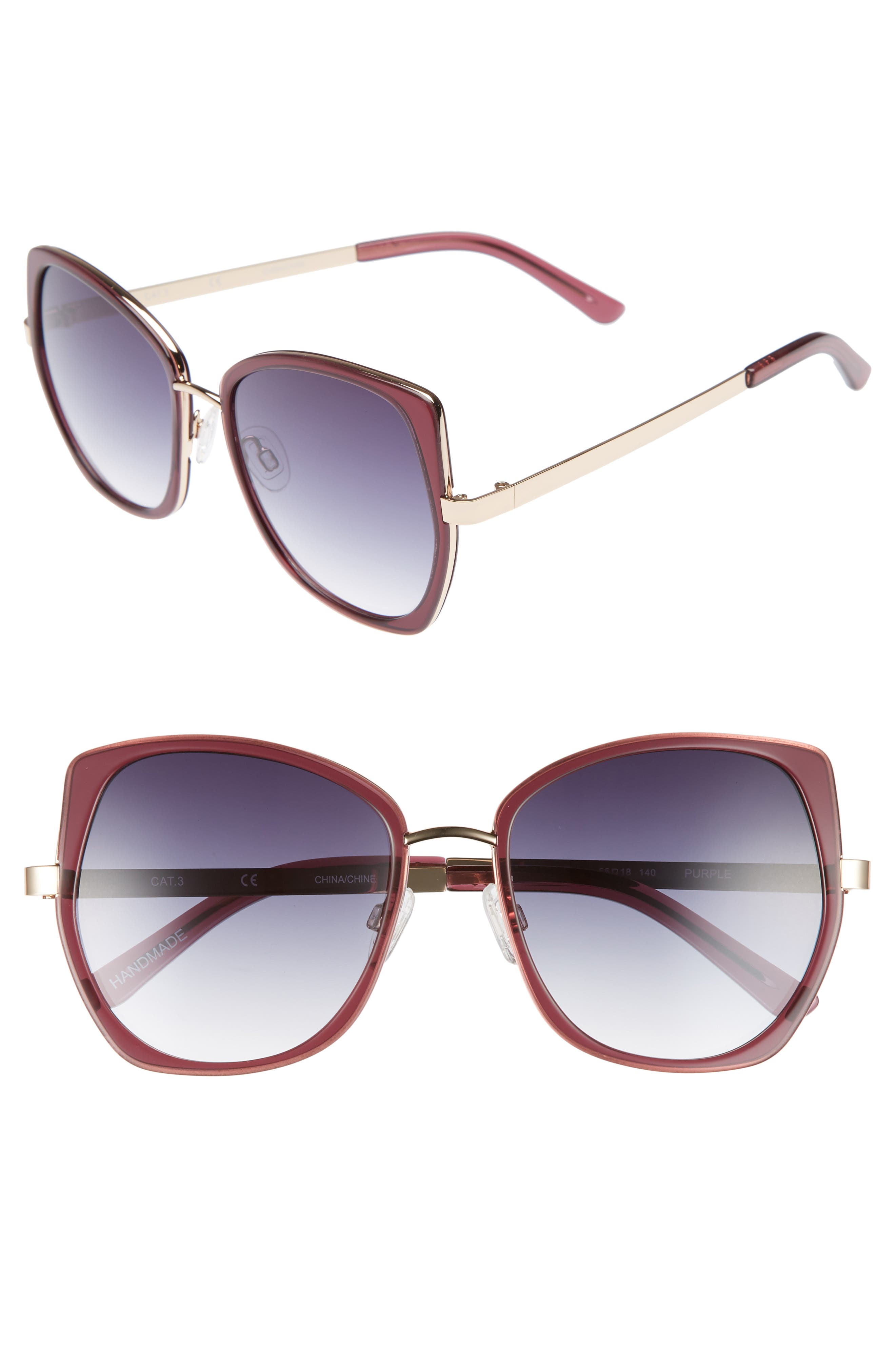 Ellie 55mm Sunglasses,                         Main,                         color, MILKY GREY PURPLE