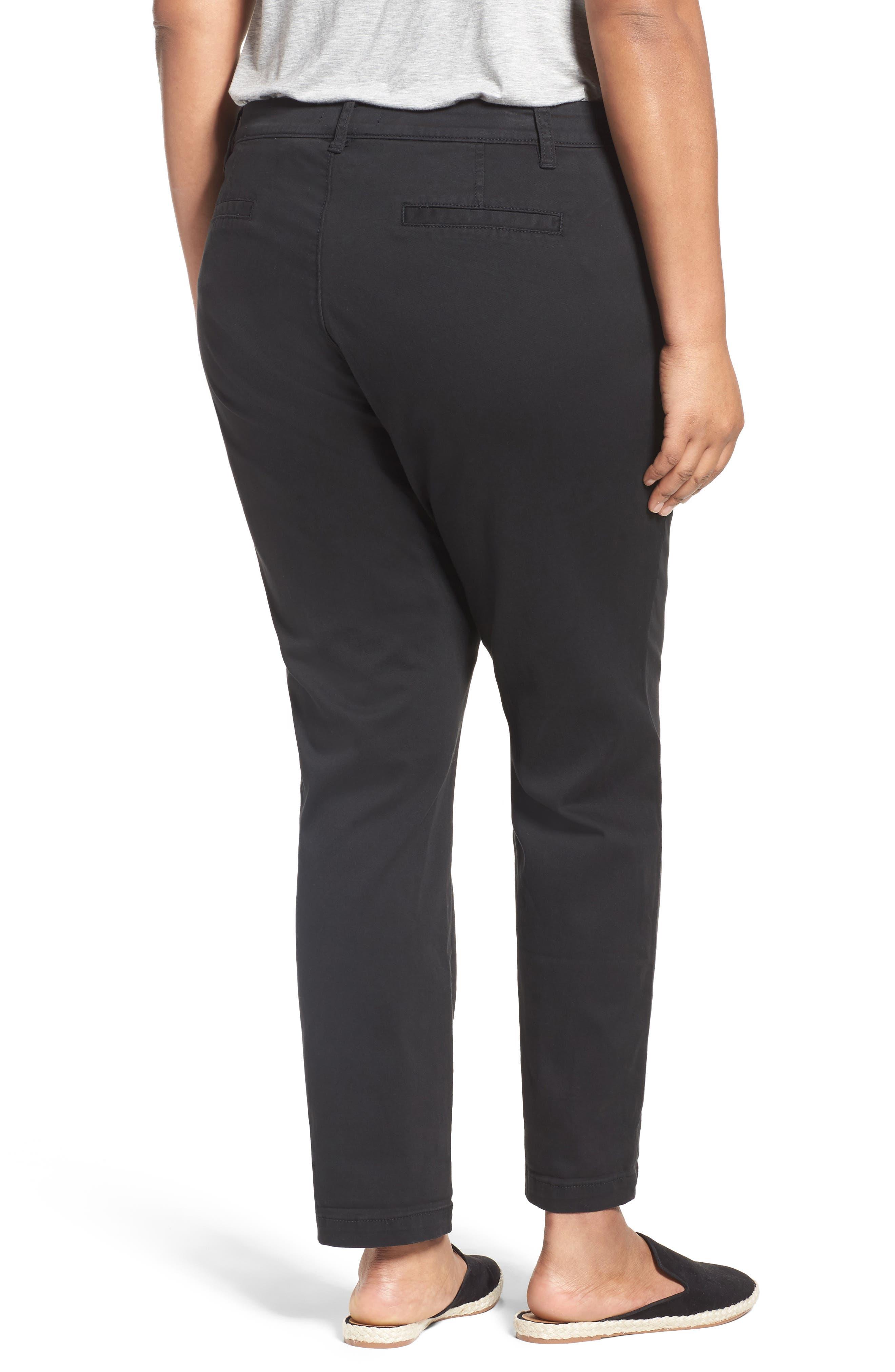 Stretch Cotton Ankle Pants,                             Alternate thumbnail 2, color,                             001