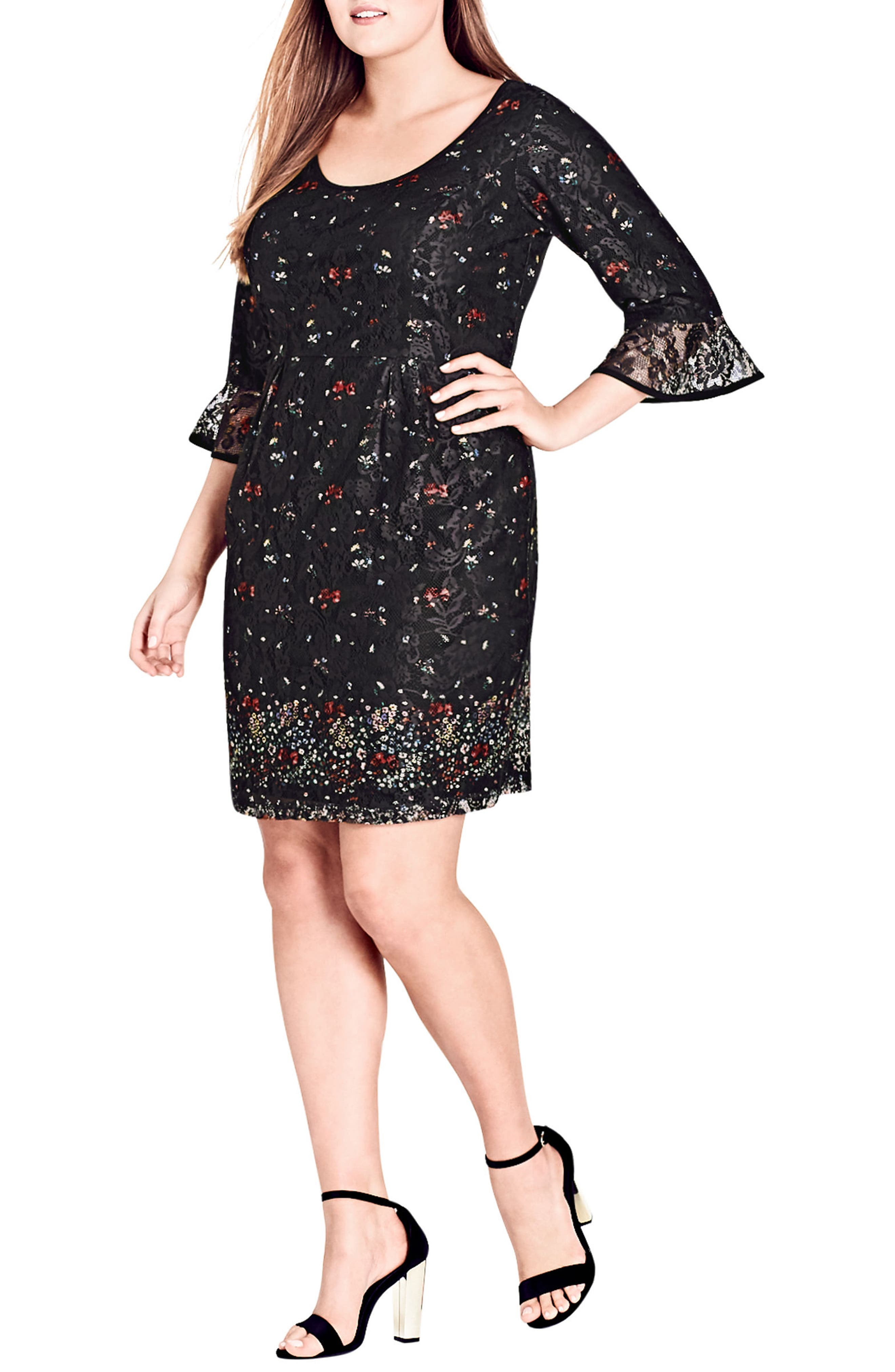 Floral Fields Scoop Neck Lace Dress,                             Alternate thumbnail 4, color,                             FLOWER FIELDS