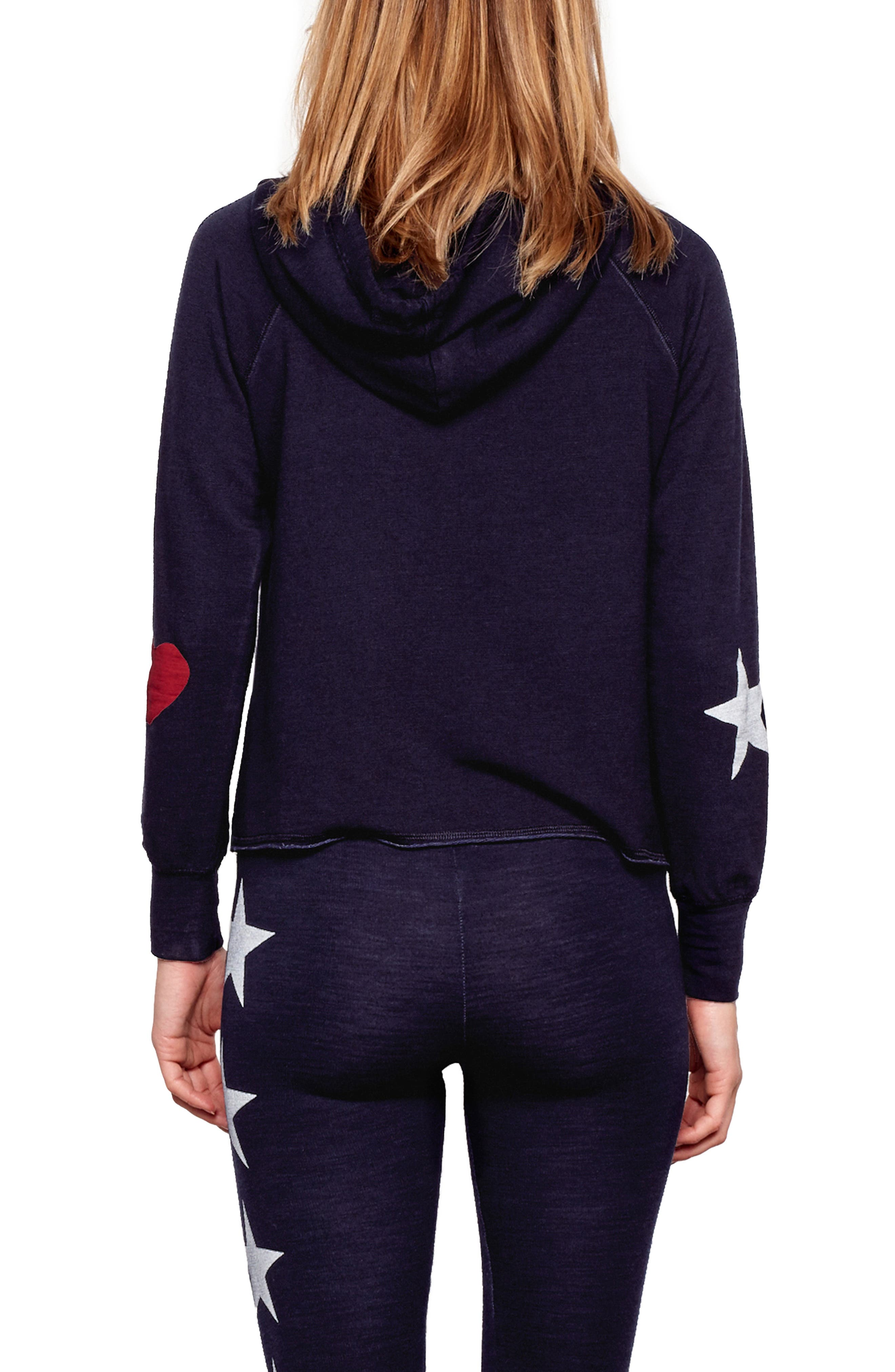 Active Stripes Crop Hoodie,                             Alternate thumbnail 2, color,                             MIDNIGHT