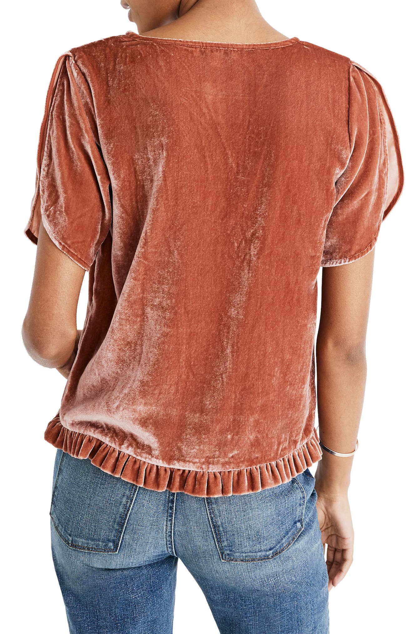 Ruffle Tulip Sleeve Velvet Top,                             Alternate thumbnail 3, color,                             AFTERGLOW RED