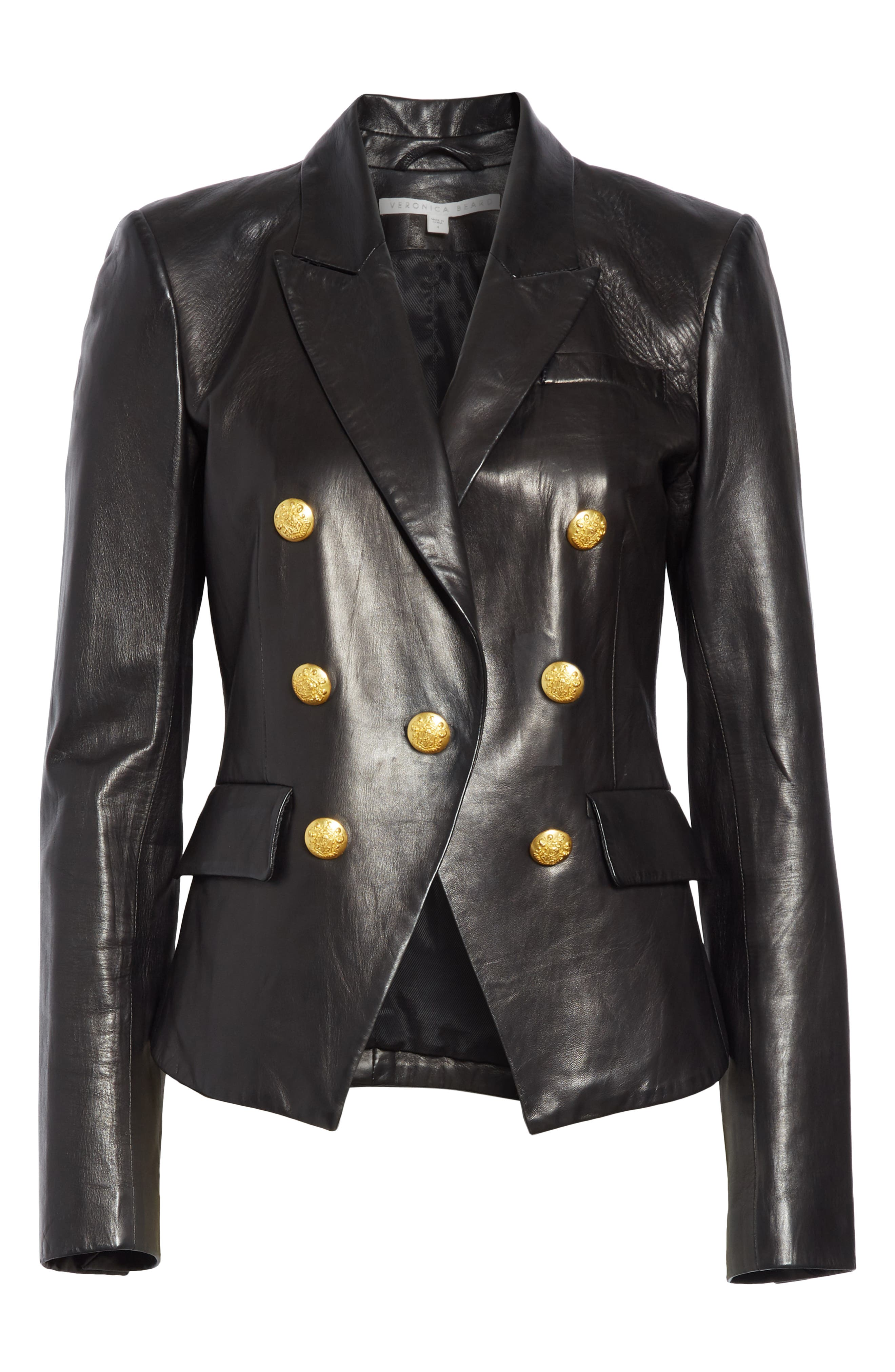 Cooke Leather Dickey Jacket,                             Alternate thumbnail 5, color,                             BLACK