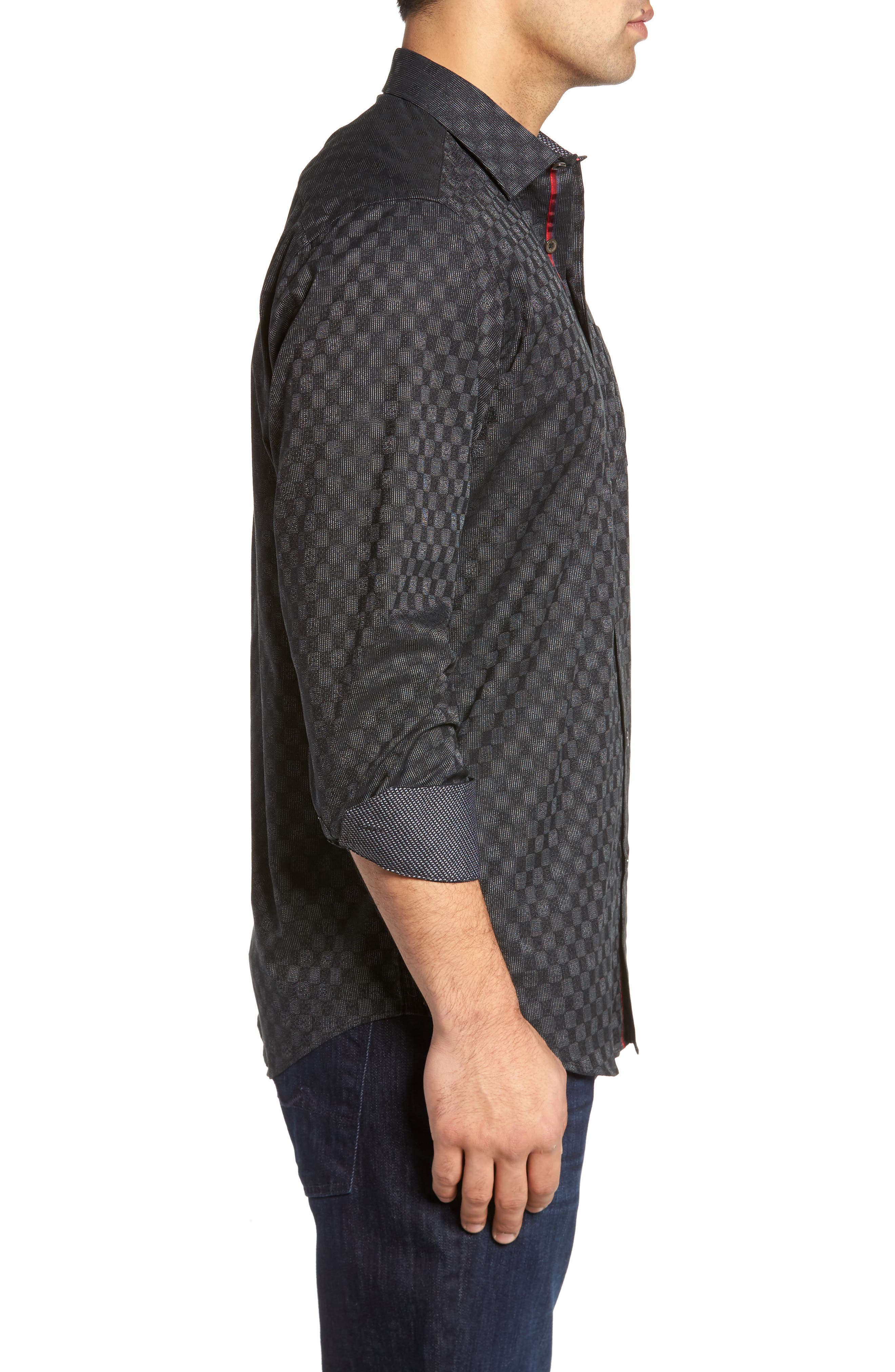 Classic Fit Abstract Dot Print Sport Shirt,                             Alternate thumbnail 3, color,                             001