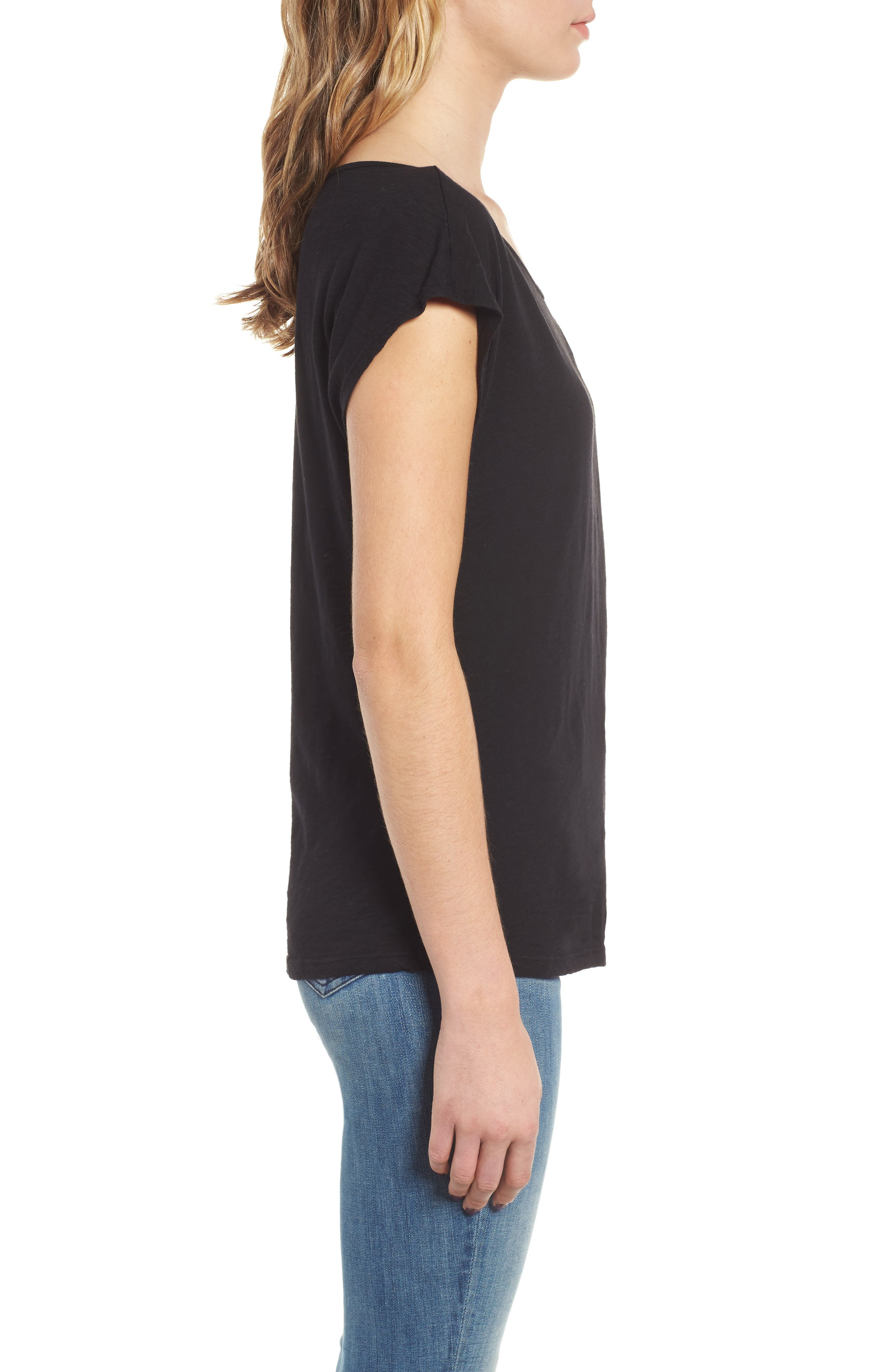 Twist Neck Tee,                             Alternate thumbnail 3, color,                             BLACK