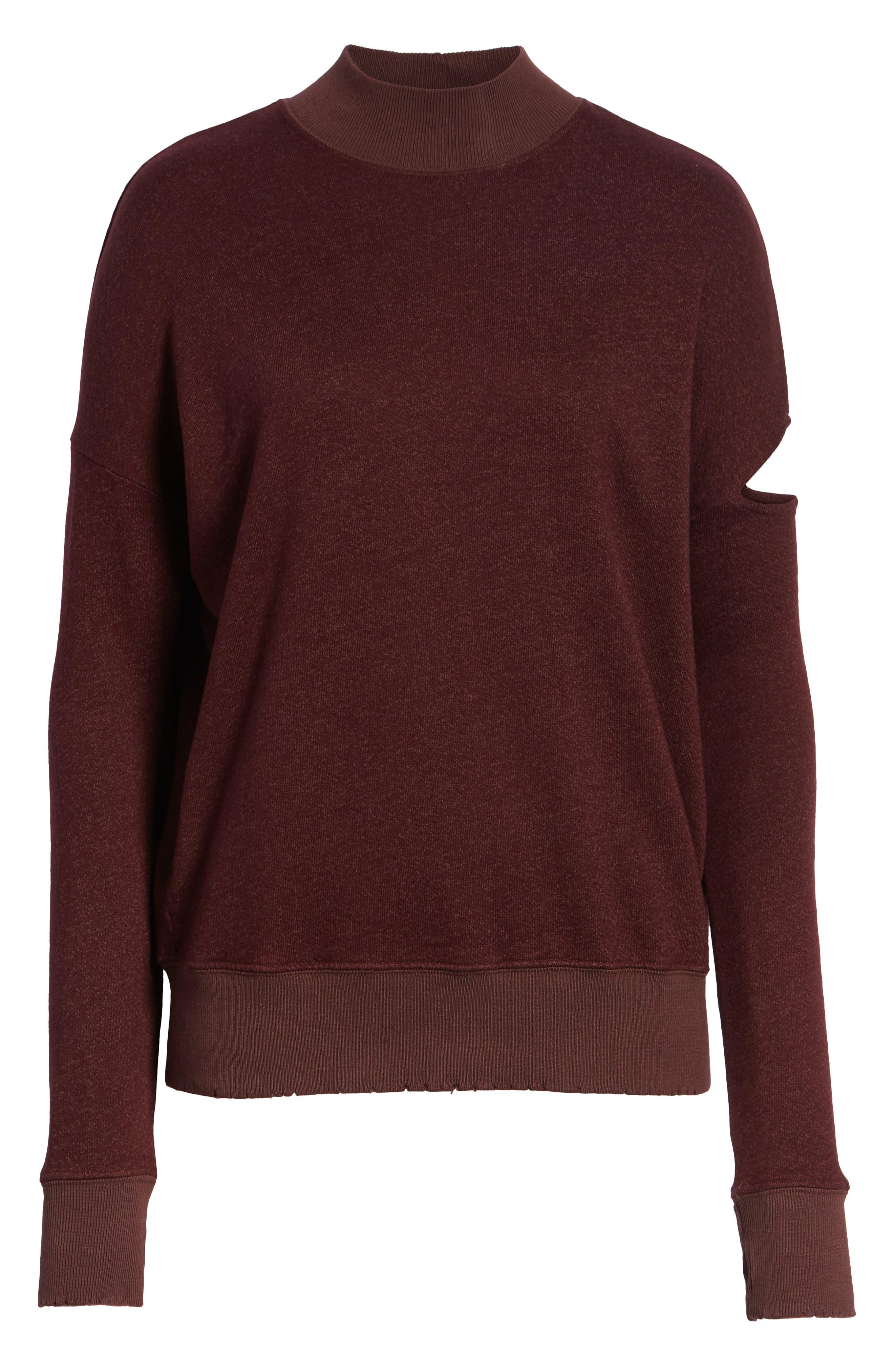 Sedro Arm Cutout Sweatshirt,                             Alternate thumbnail 6, color,                             WINETASTING