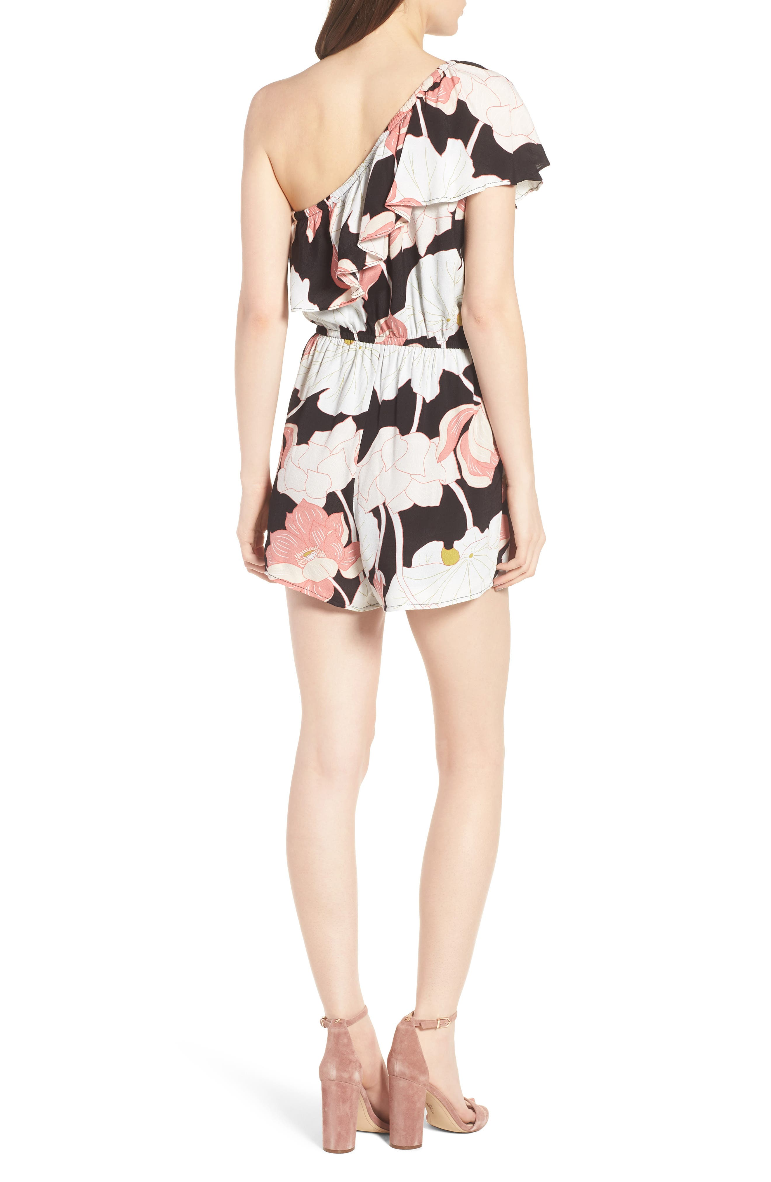 Arnett Water Lilies One-Shoulder Romper,                             Alternate thumbnail 2, color,                             001