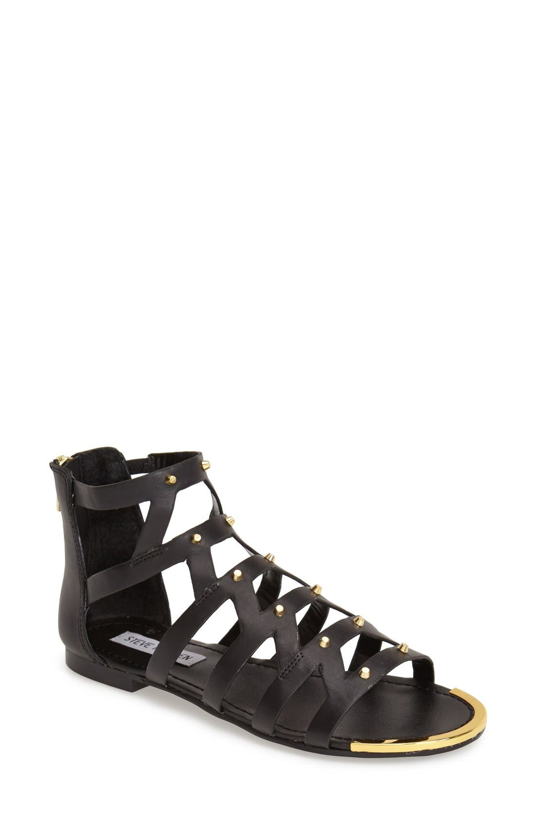 'Claudiaa' Studded Gladiator Sandal,                             Main thumbnail 1, color,                             005