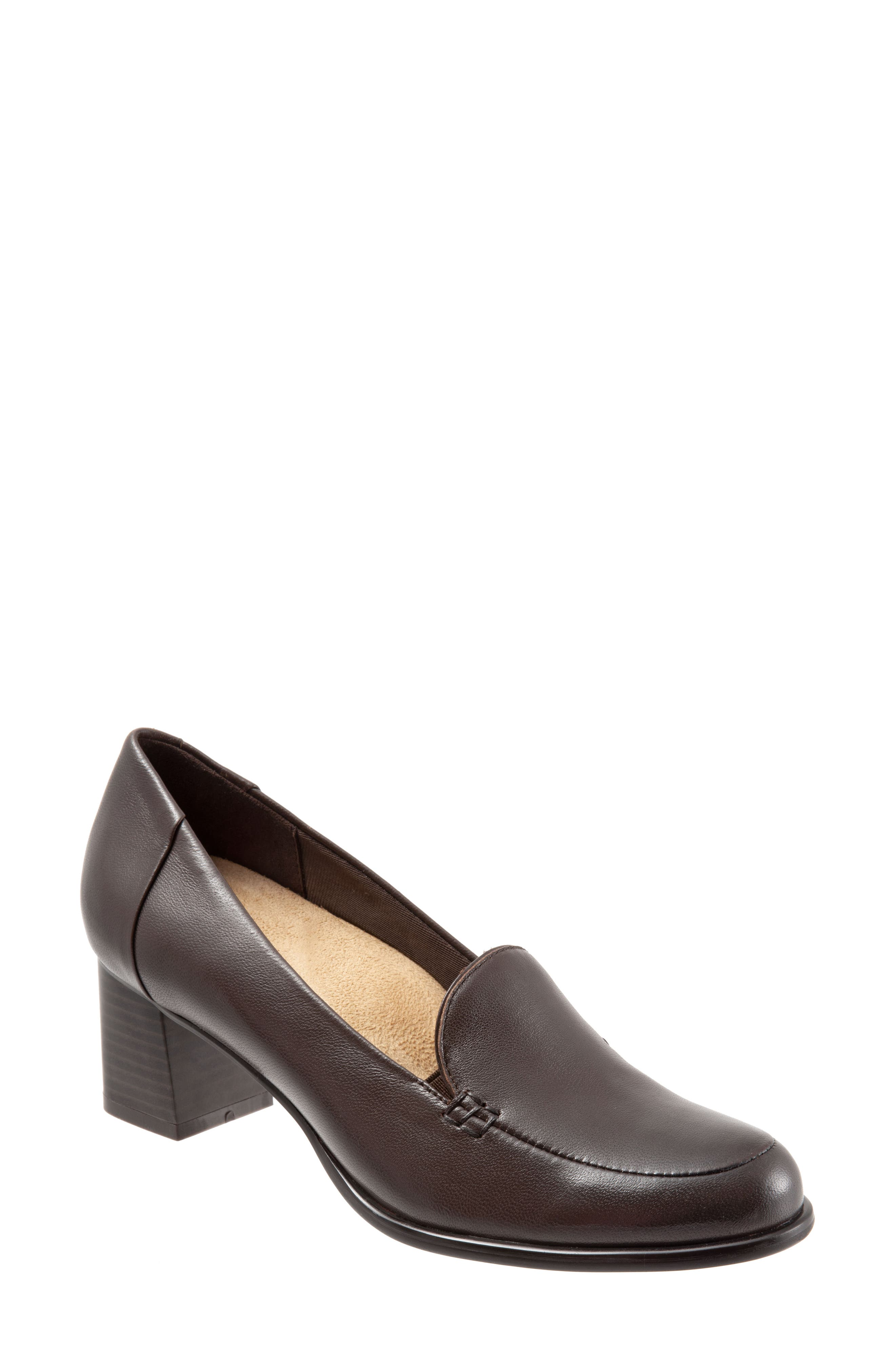 Quincy Loafer Pump,                         Main,                         color, DARK BROWN LEATHER