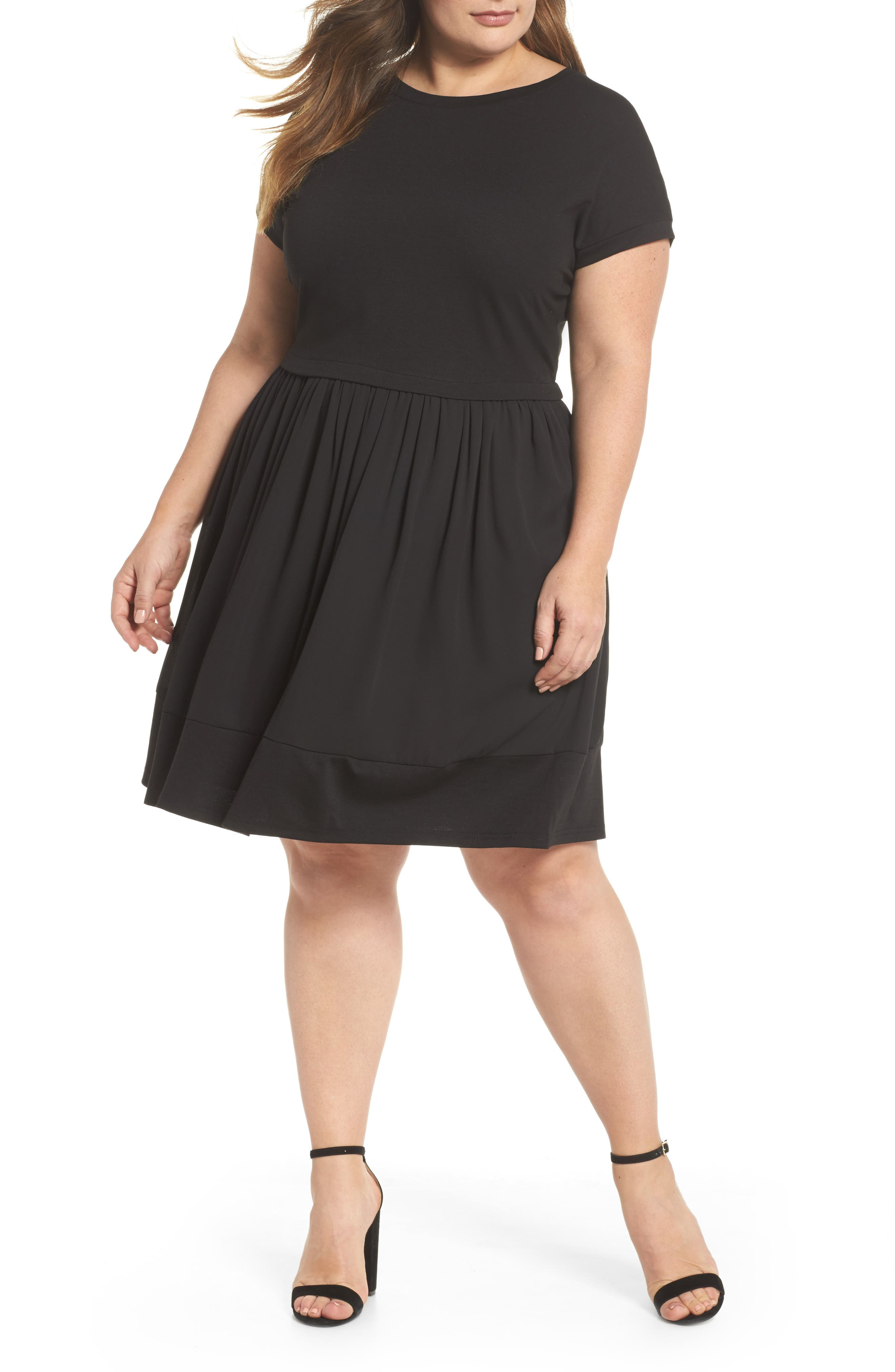 Chiffon Hem Swing Dress,                         Main,                         color, 001