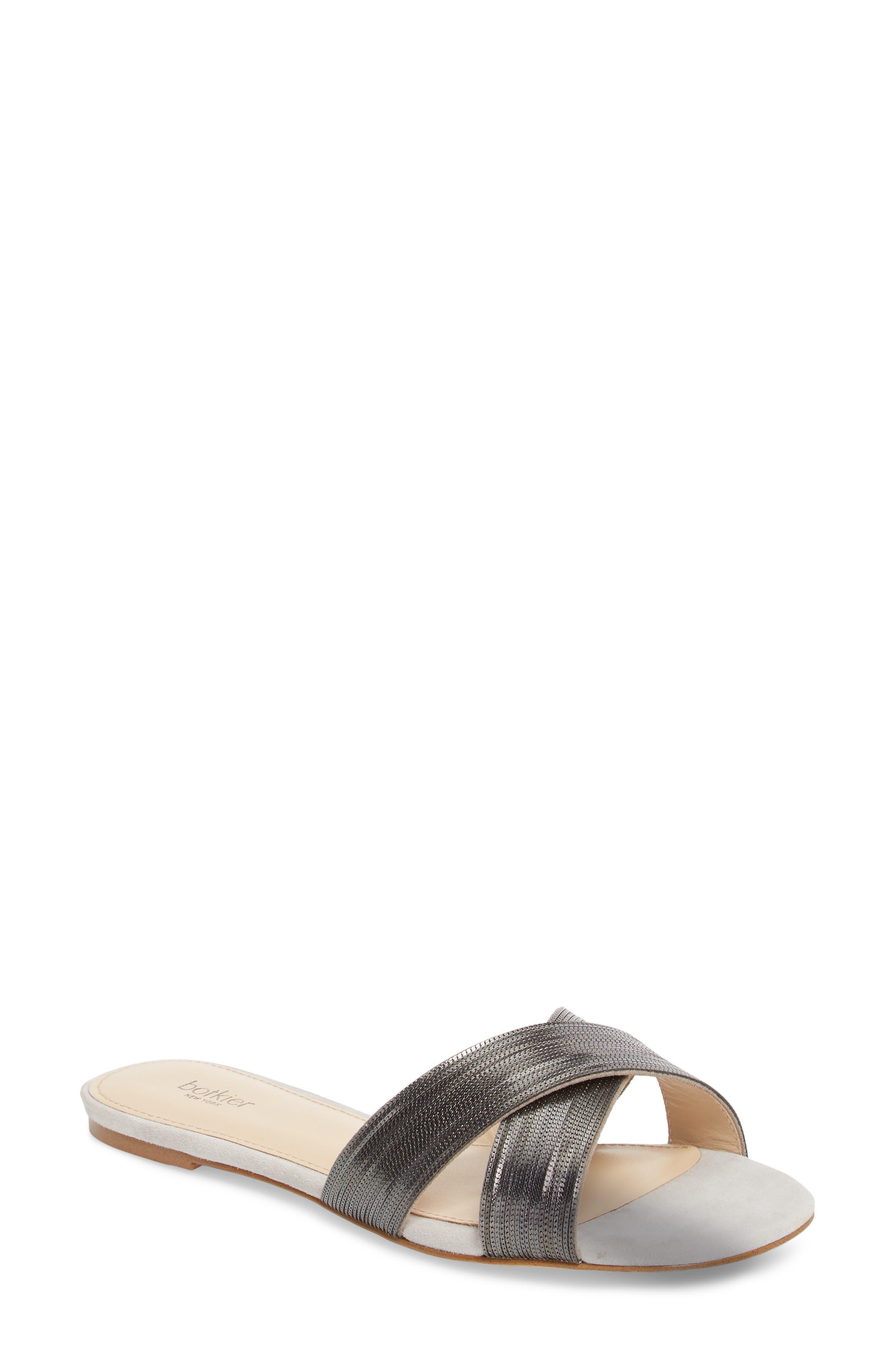 Millie Cross Strap Slide Sandal,                             Main thumbnail 1, color,                             CLAY/ GUNMETAL SUEDE