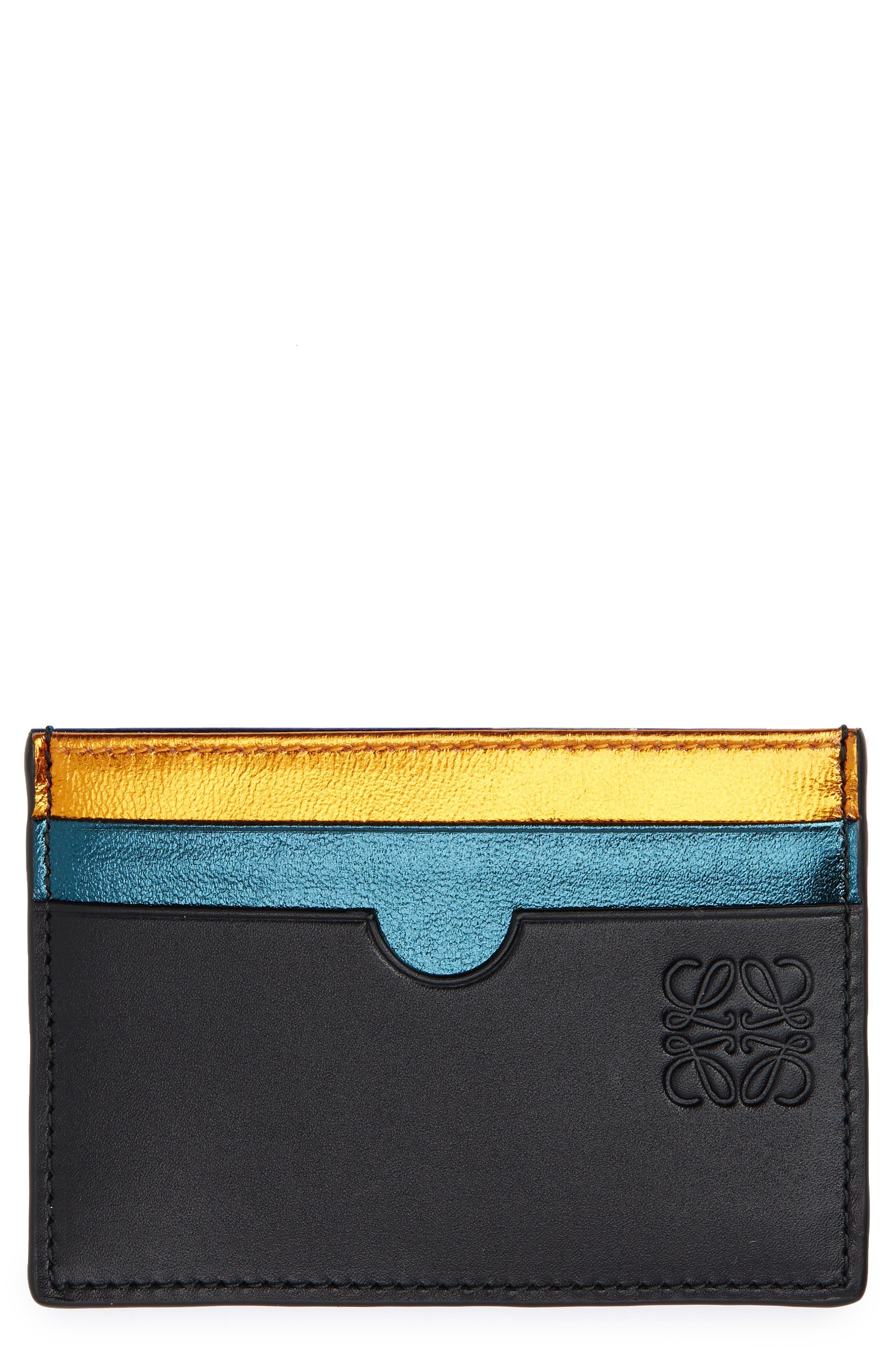 Rainbow Plain Card Case,                             Main thumbnail 1, color,                             METALLIC BLACK MULTI