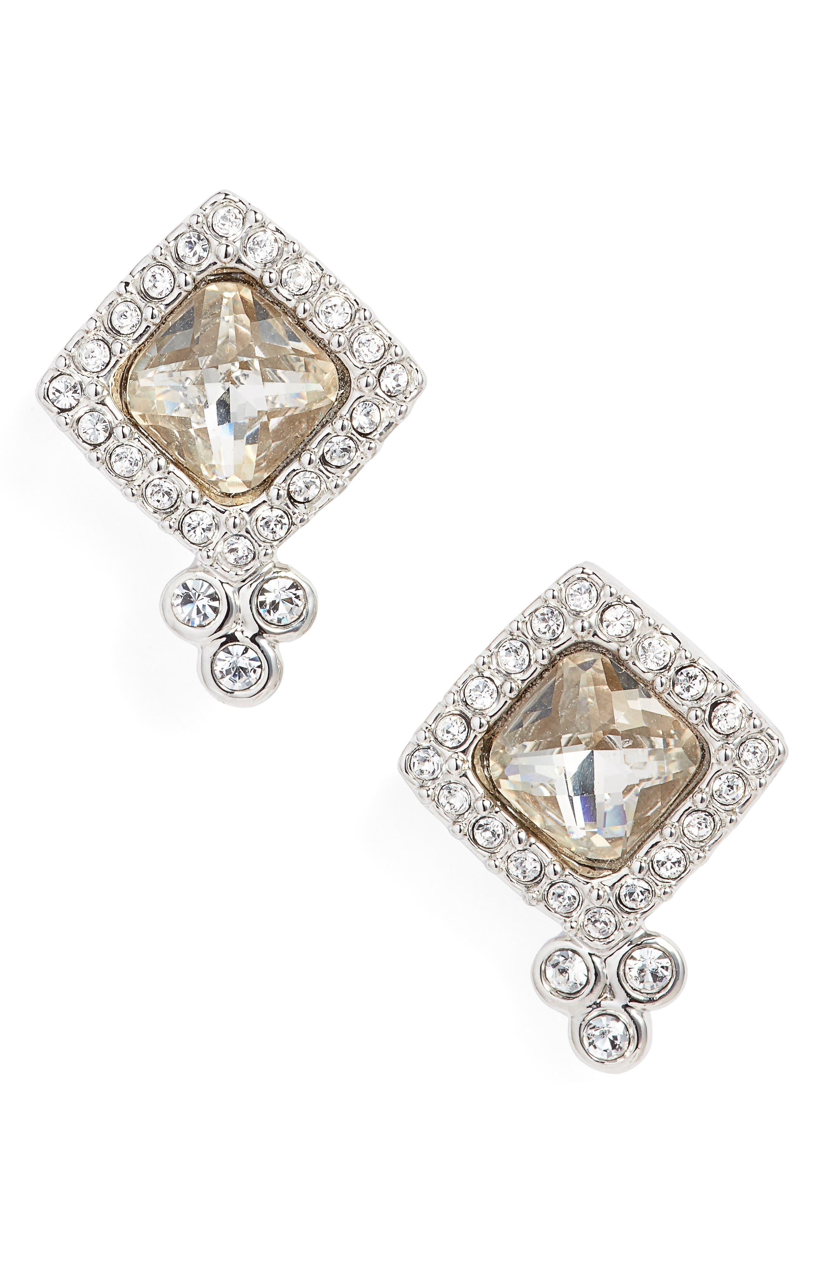 Crystal Stud Earrings,                         Main,                         color,