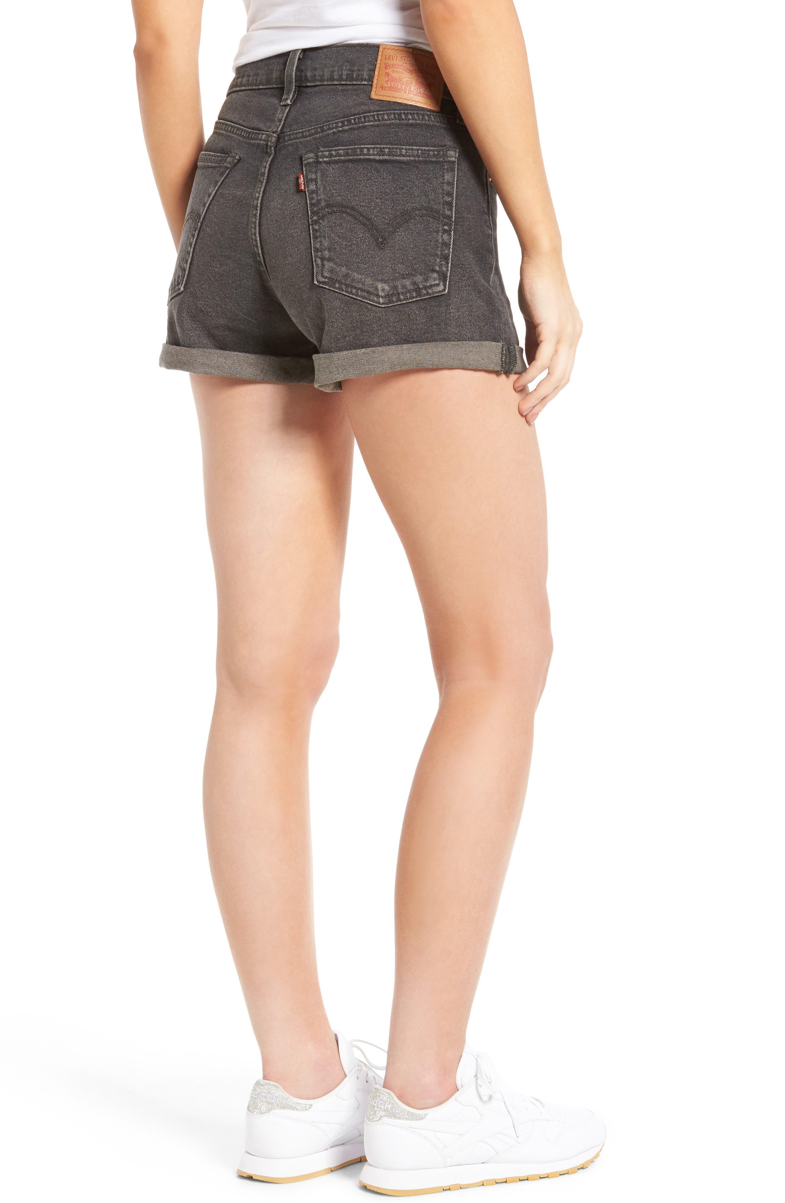 Wedgie High Waist Denim Shorts,                             Alternate thumbnail 2, color,                             001