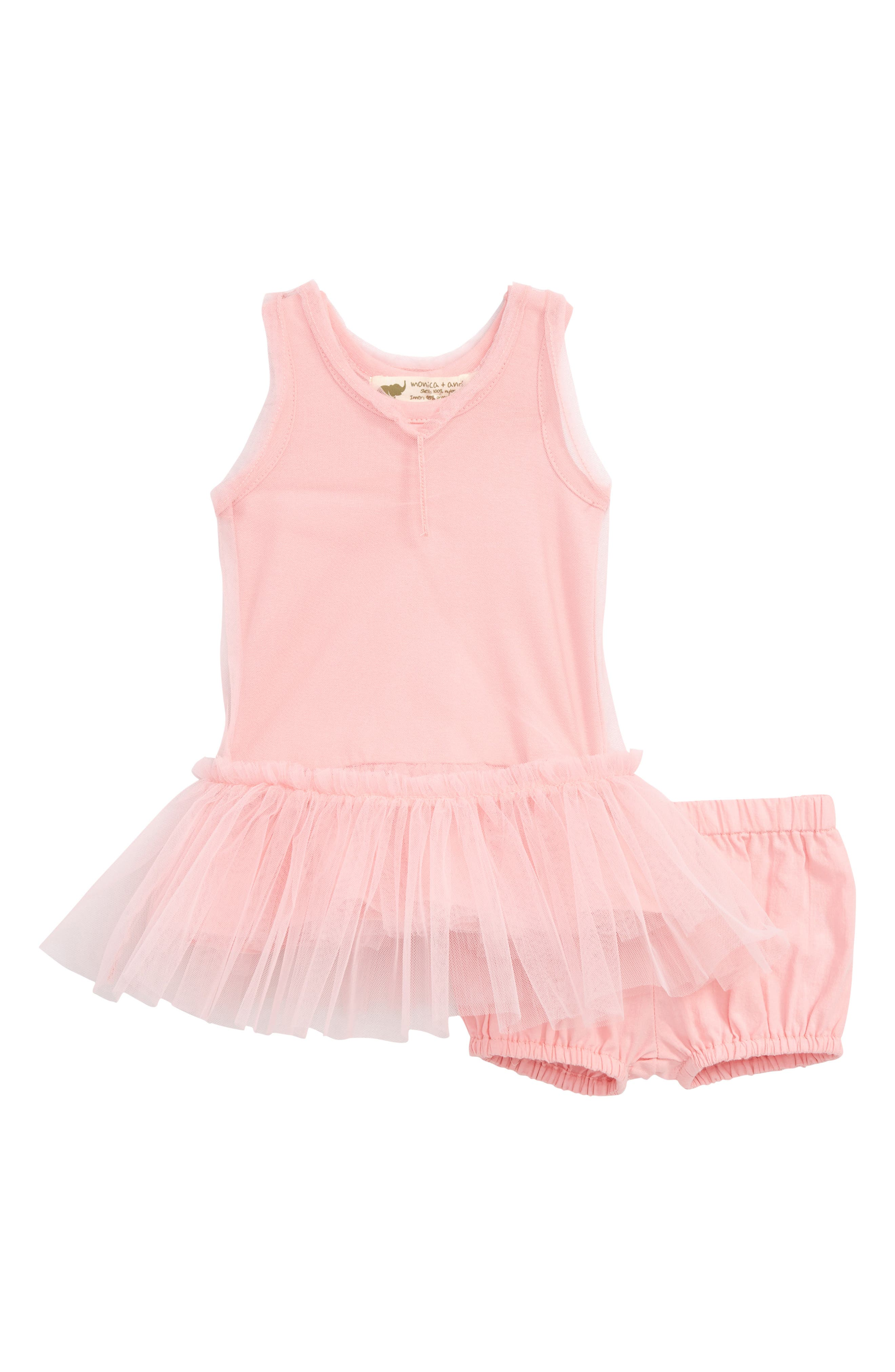 MONICA + ANDY Little Belle Tulle Dress & Bubble Bloomers Set, Main, color, 650