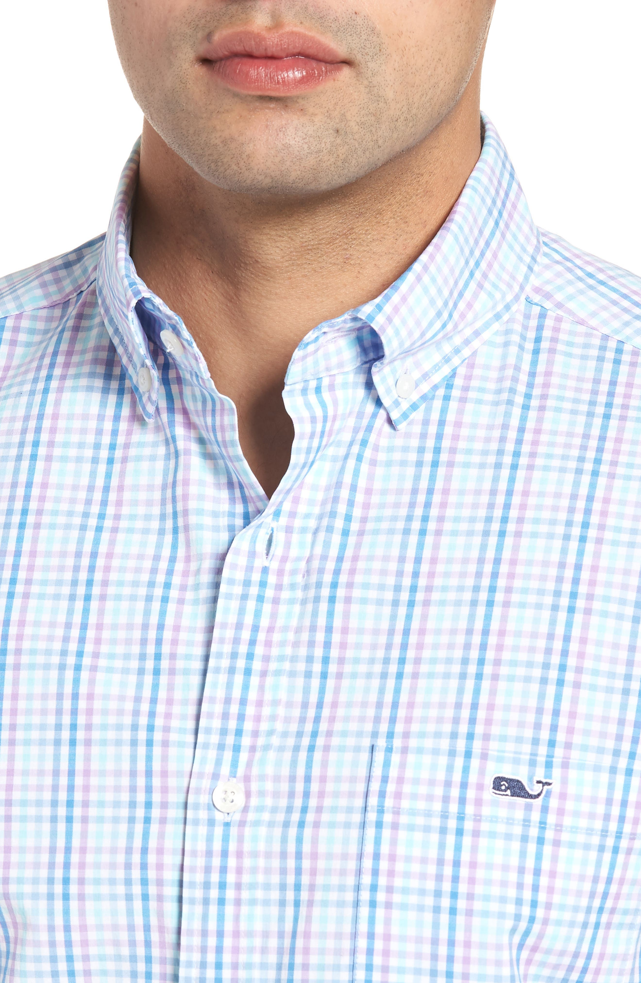 Friendly Island Classic Fit Stretch Check Sport Shirt,                             Alternate thumbnail 4, color,