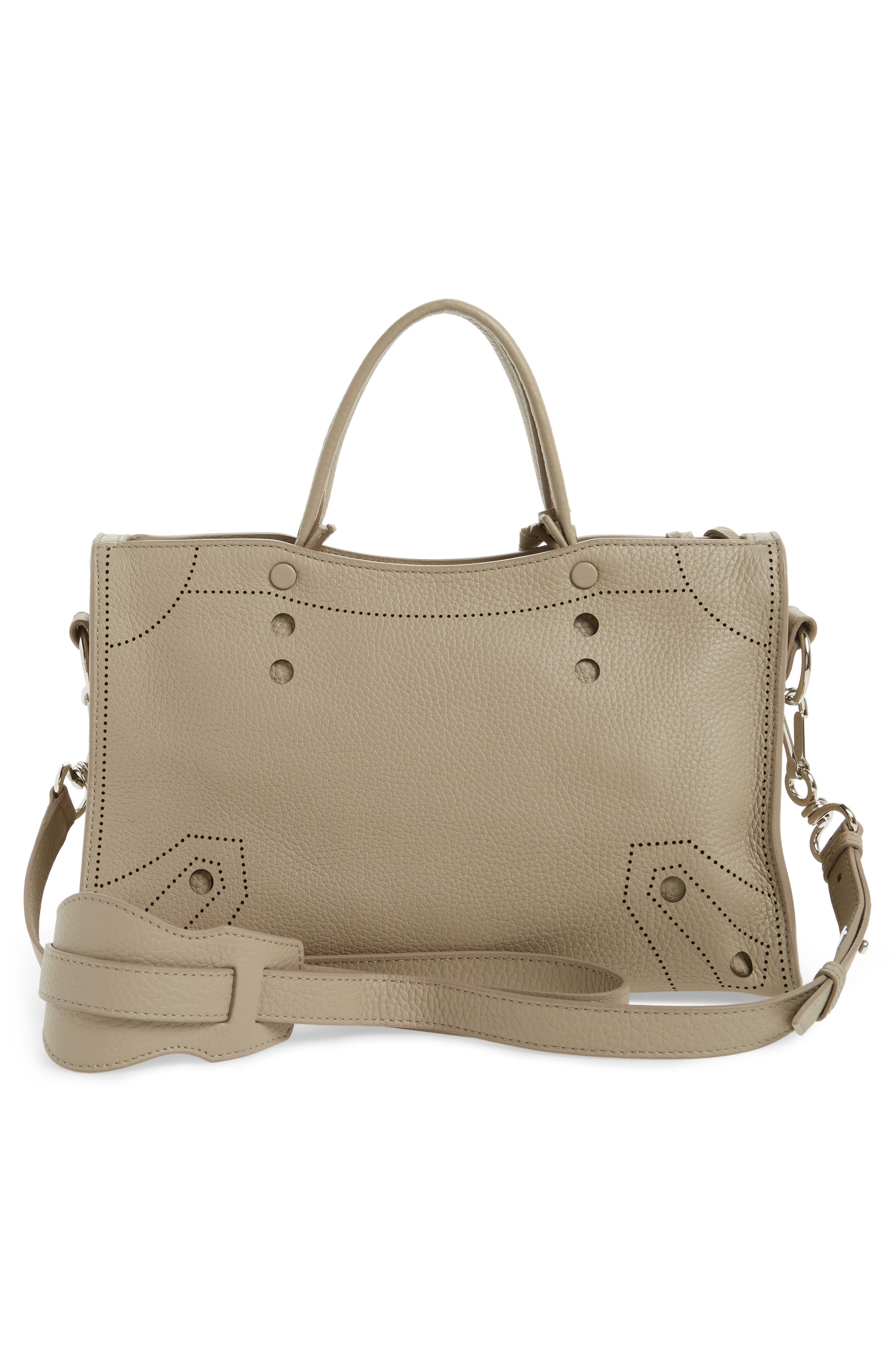 Small Blackout City Leather Tote,                             Alternate thumbnail 3, color,                             035