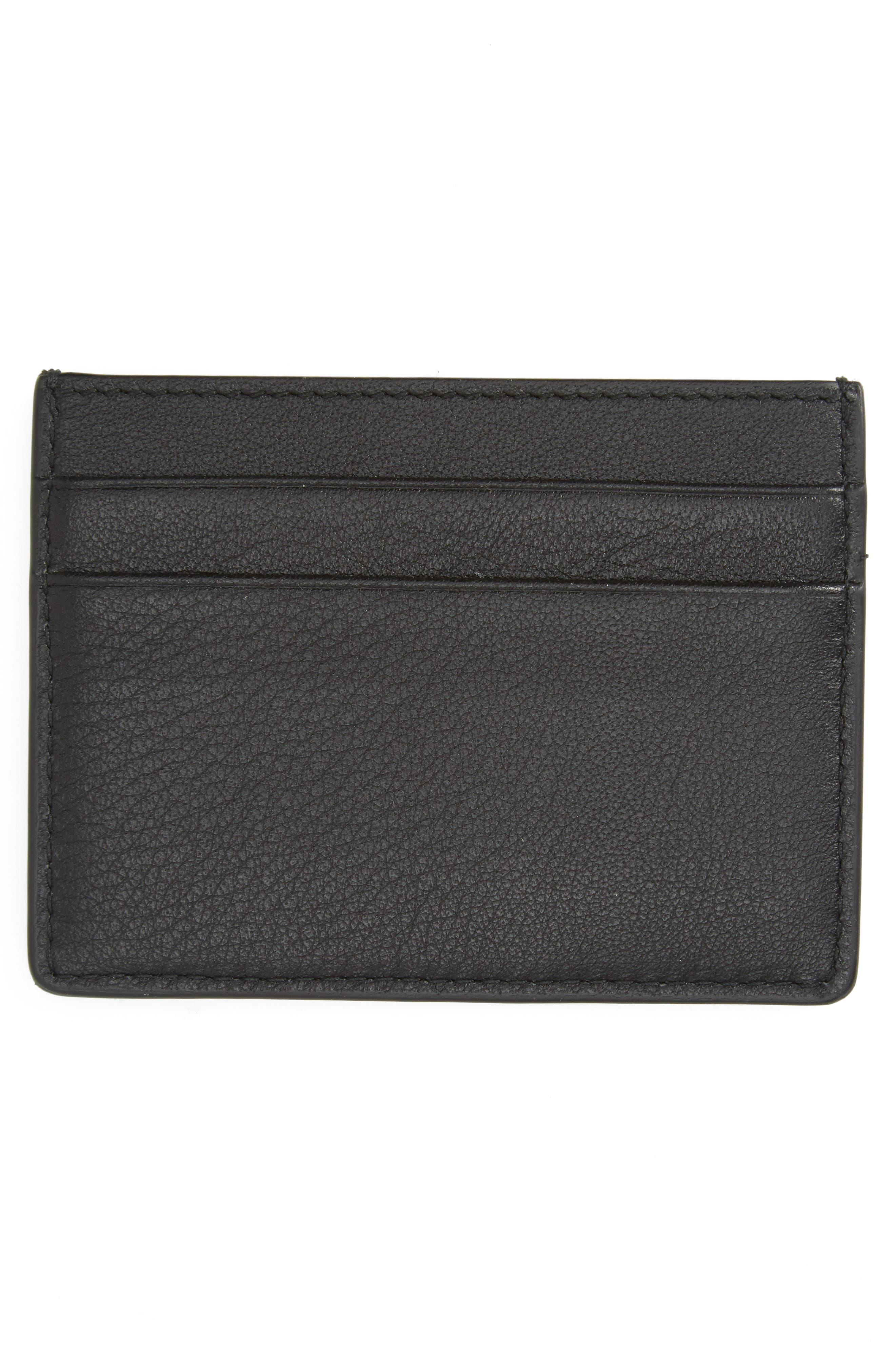 Logo Leather Card Case,                             Alternate thumbnail 2, color,                             NOIR/ BLANC