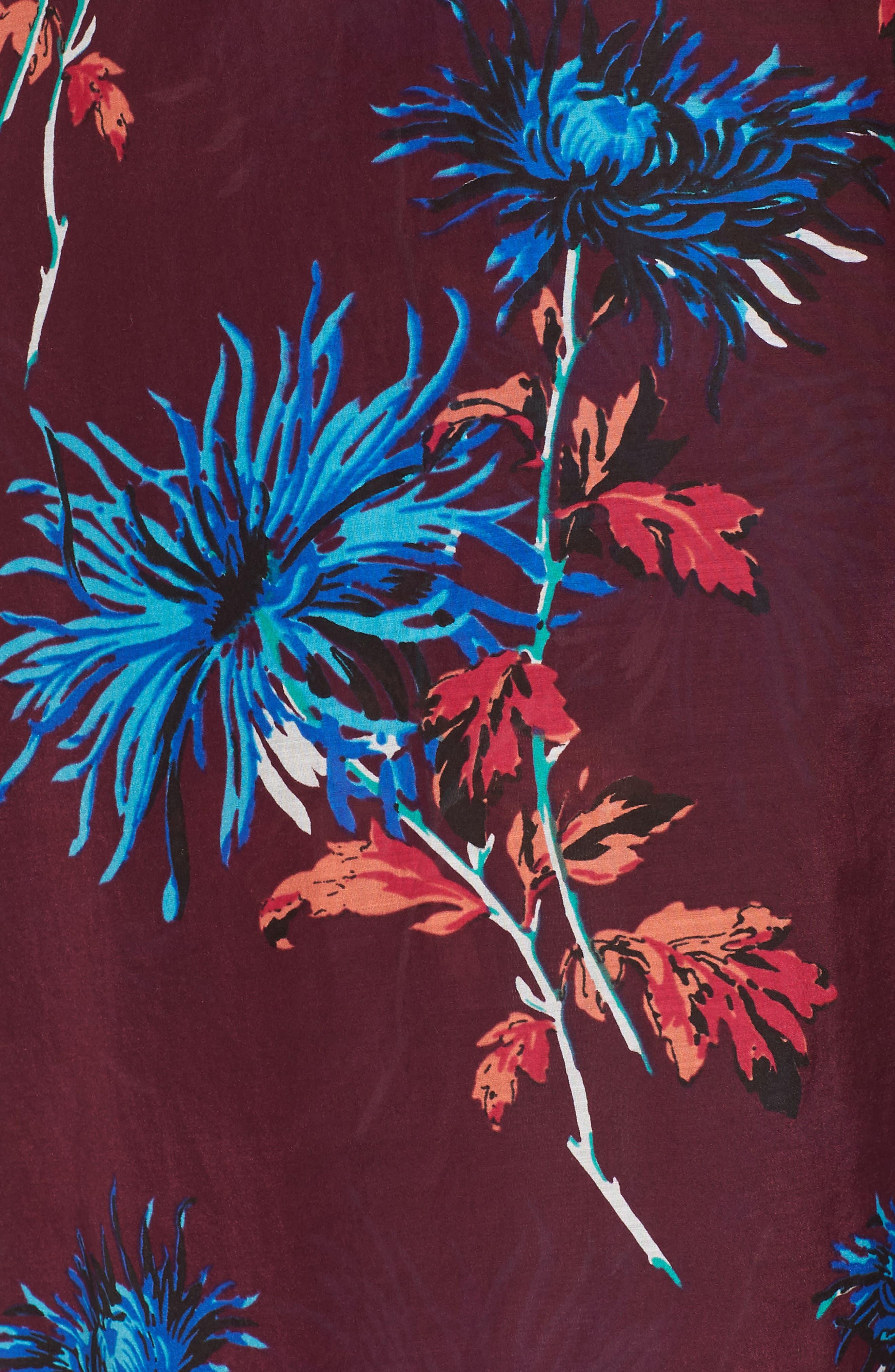 Long Cover-Up Wrap Dress,                             Alternate thumbnail 5, color,                             BURGUNDY