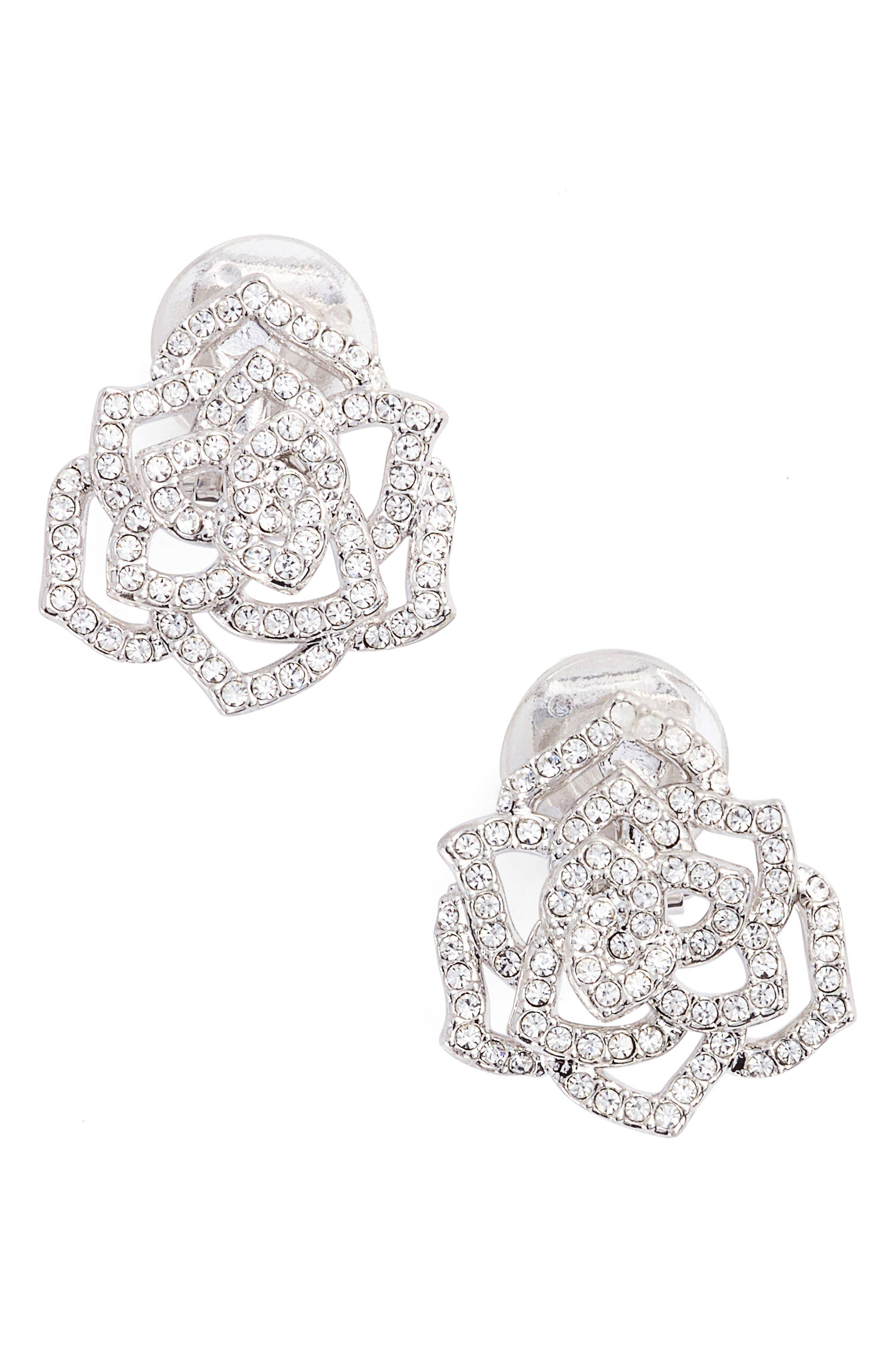 NADRI Rose Clip-On Stud Earrings, Main, color, 040