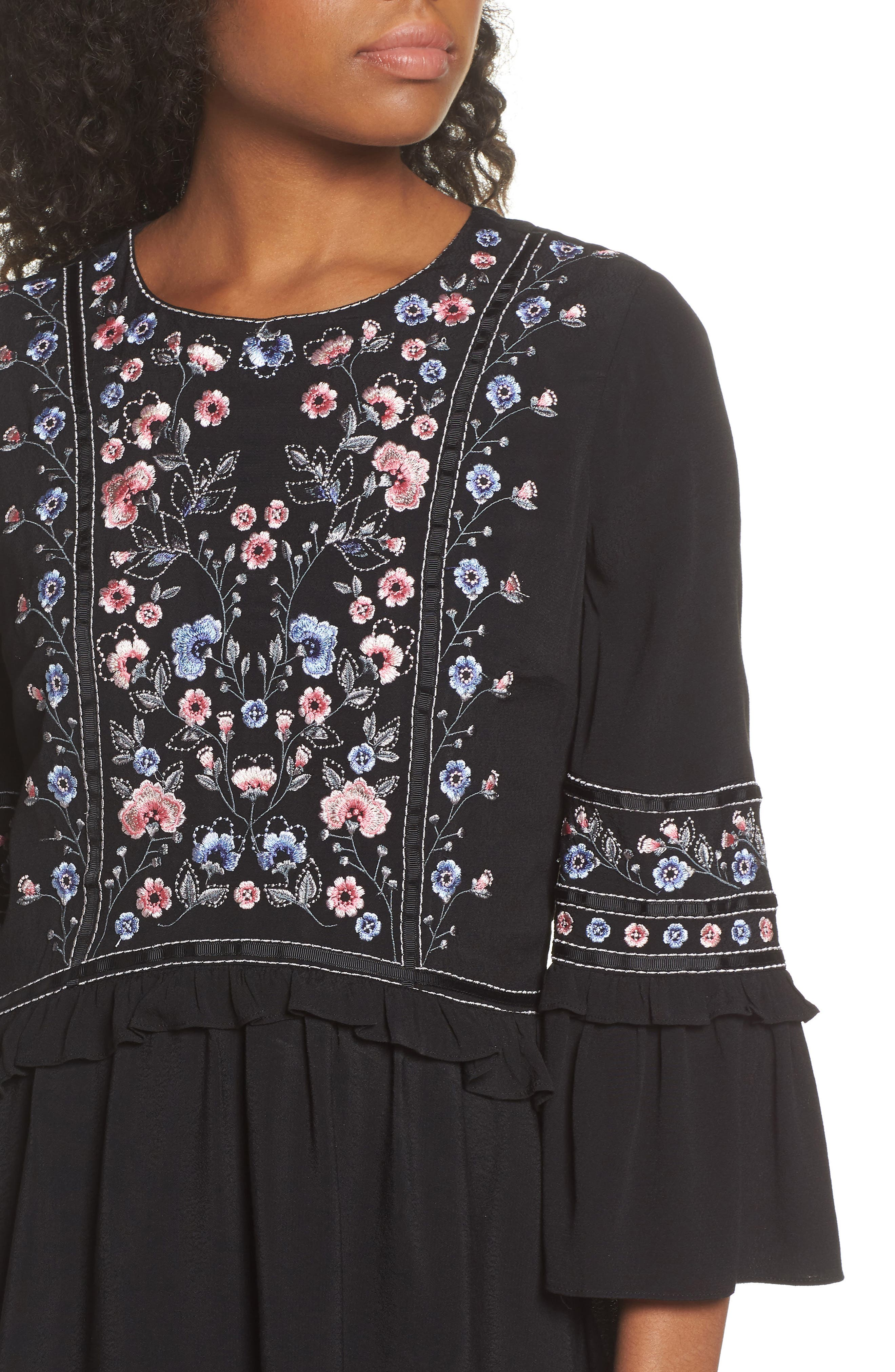 Embroidered Babydoll Dress,                             Alternate thumbnail 4, color,                             BLACK
