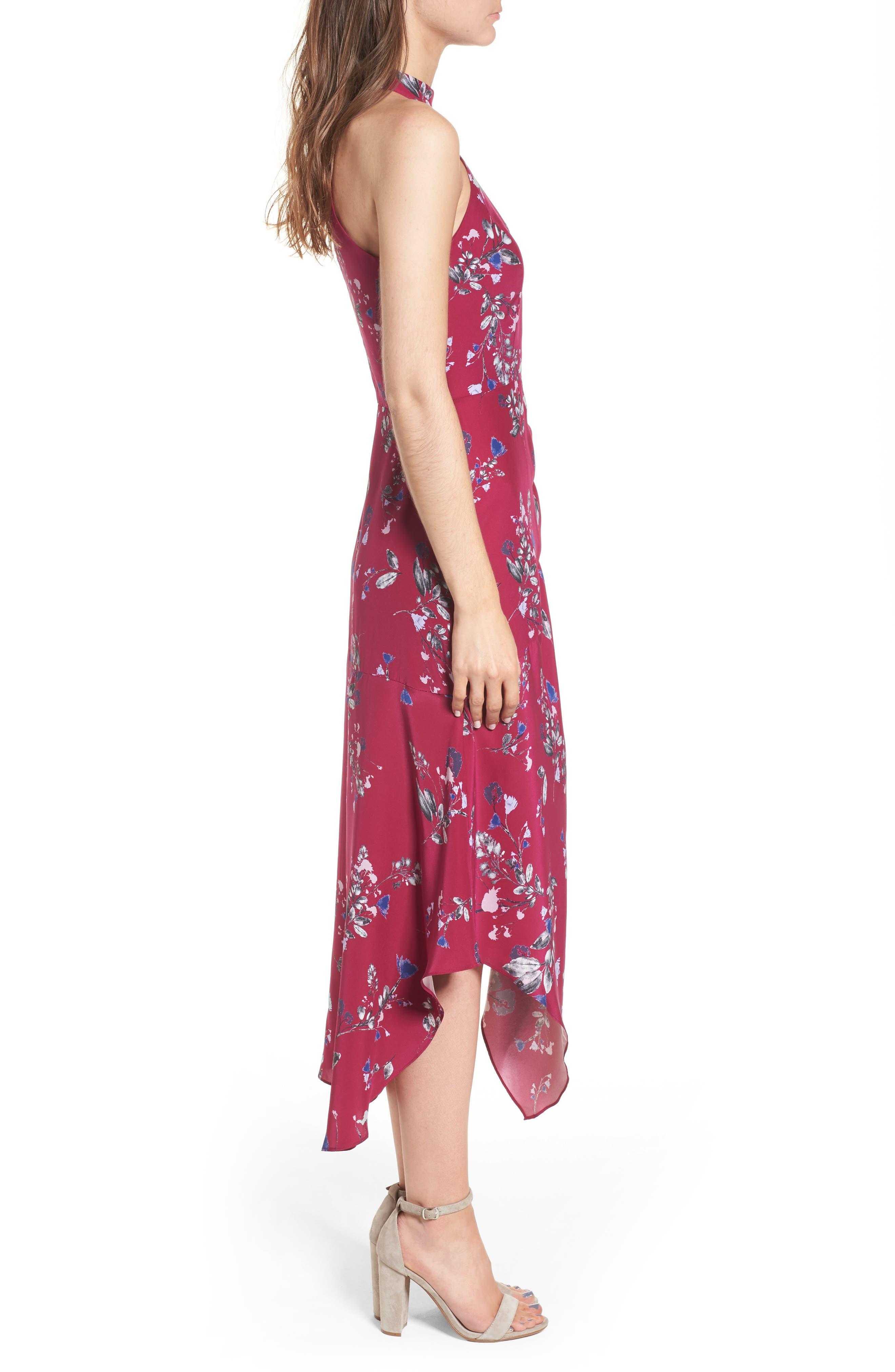 Jagger Silk Midi Dress,                             Alternate thumbnail 3, color,                             697