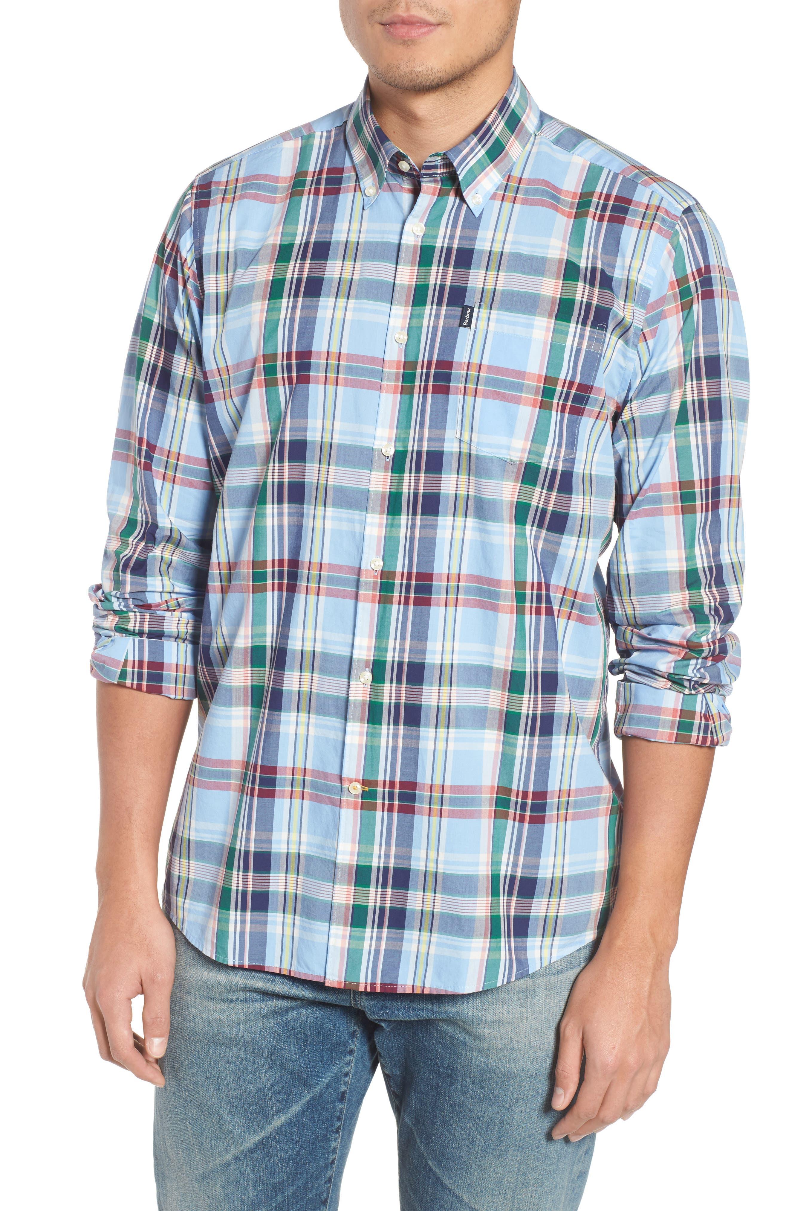 Jeff Trim Fit Plaid Sport Shirt,                         Main,                         color, 450