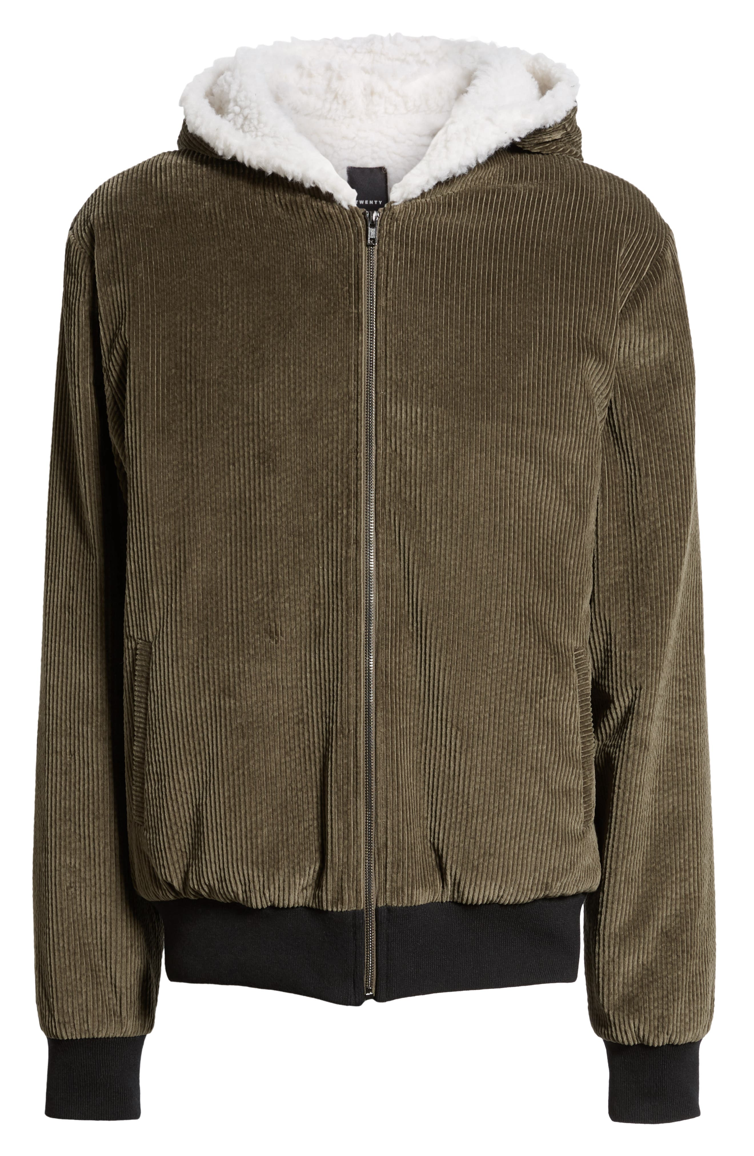 Champlain Cotton Corduroy & Faux Shearling Hooded Bomber Jacket,                             Alternate thumbnail 6, color,                             ARMY