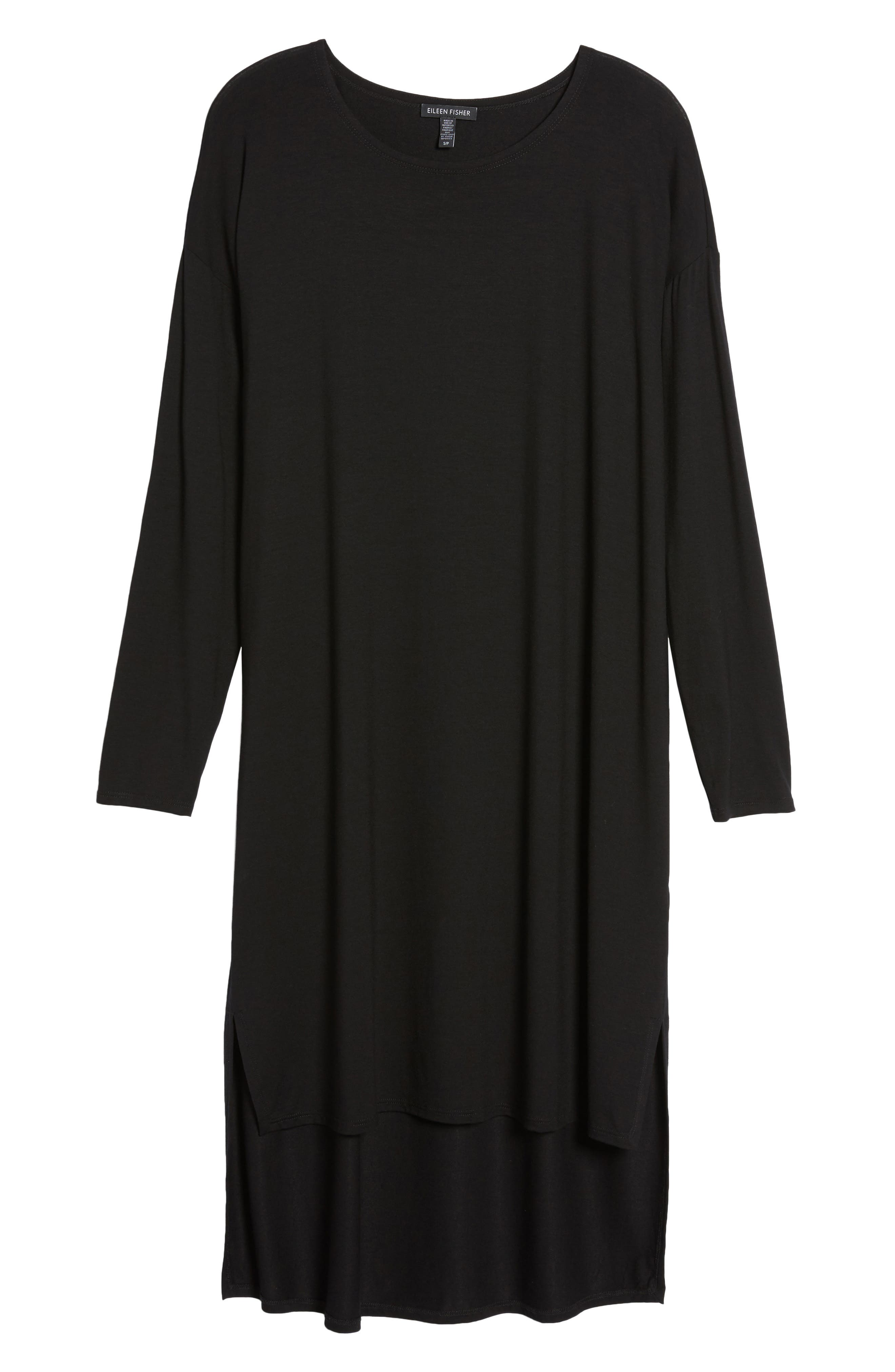 High/Low Jersey Shift Dress,                             Alternate thumbnail 6, color,                             001