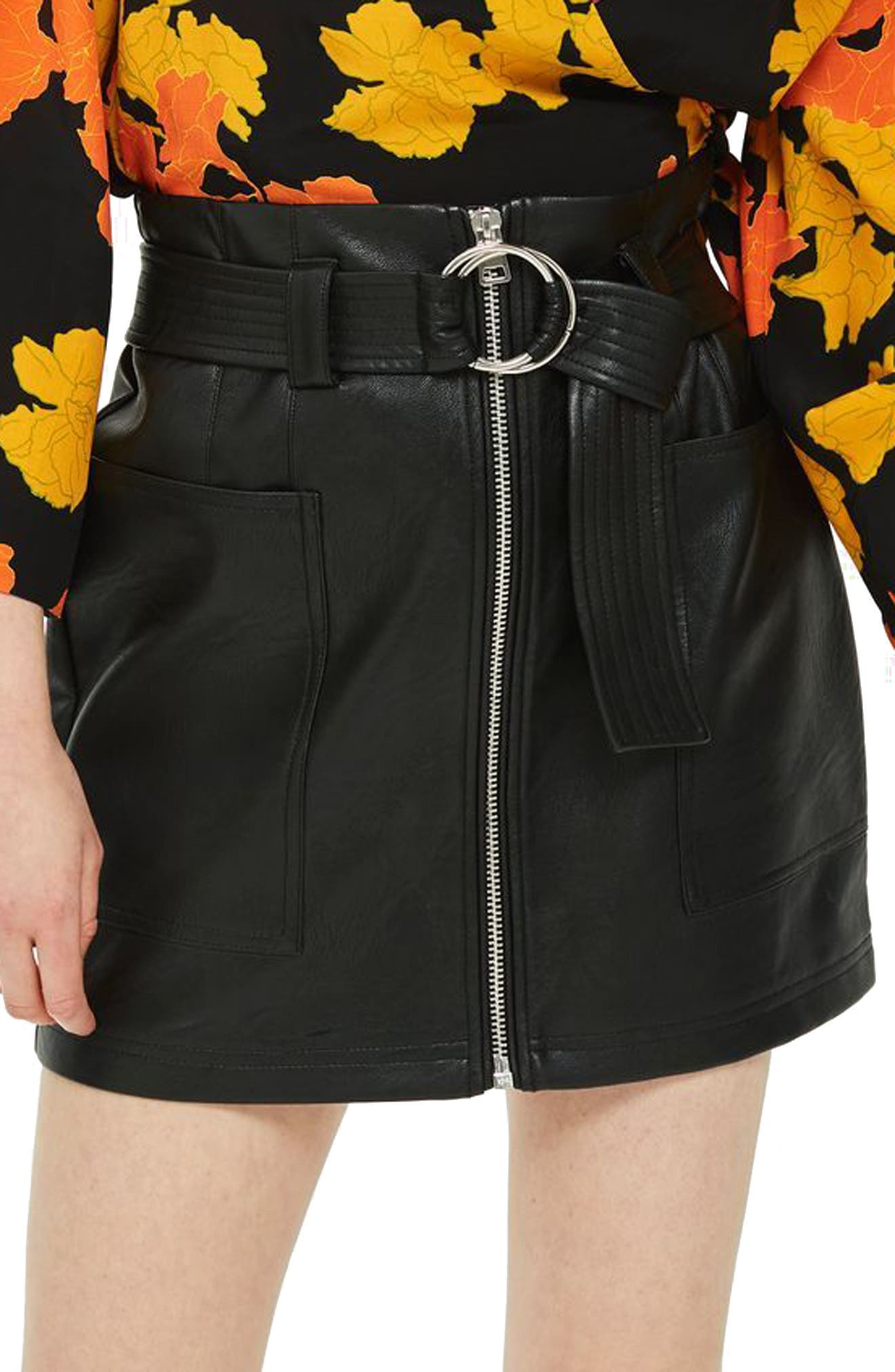 Front Zip Faux Leather Miniskirt,                         Main,                         color, BLACK