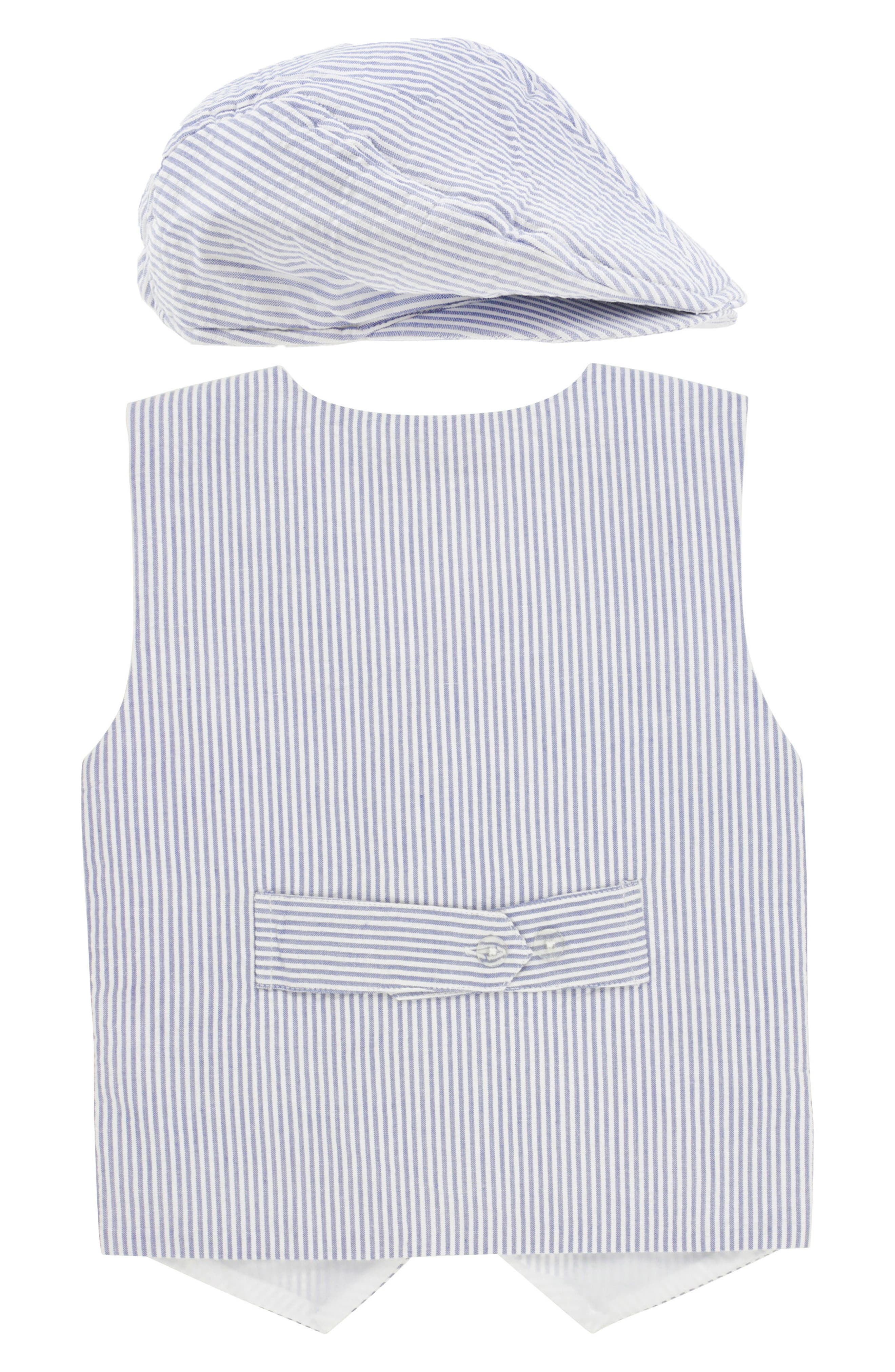 Seersucker Vest & Shorts Set,                             Alternate thumbnail 2, color,                             BLUE