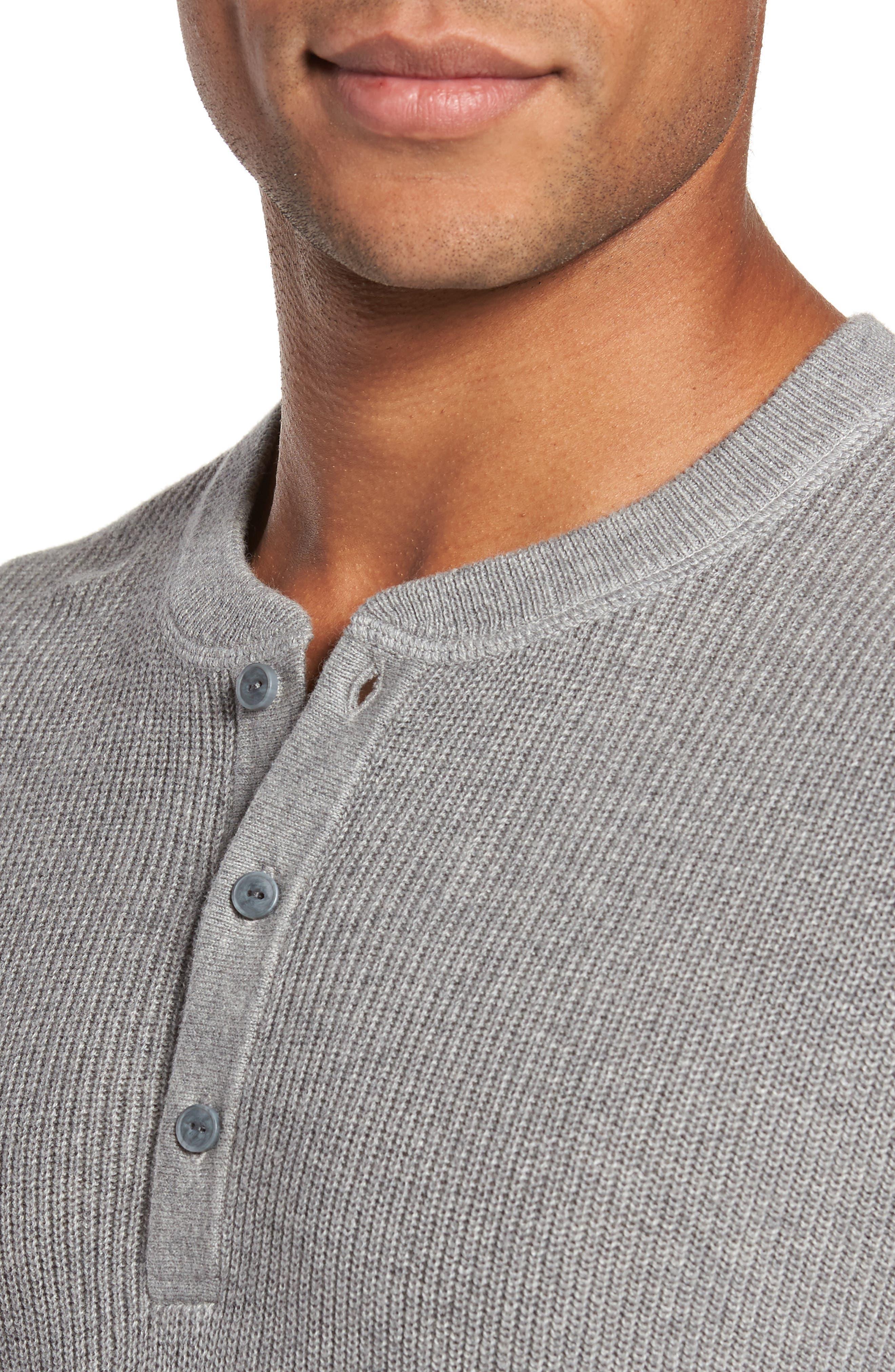 Cotton & Cashmere Henley Sweater,                             Alternate thumbnail 4, color,                             030