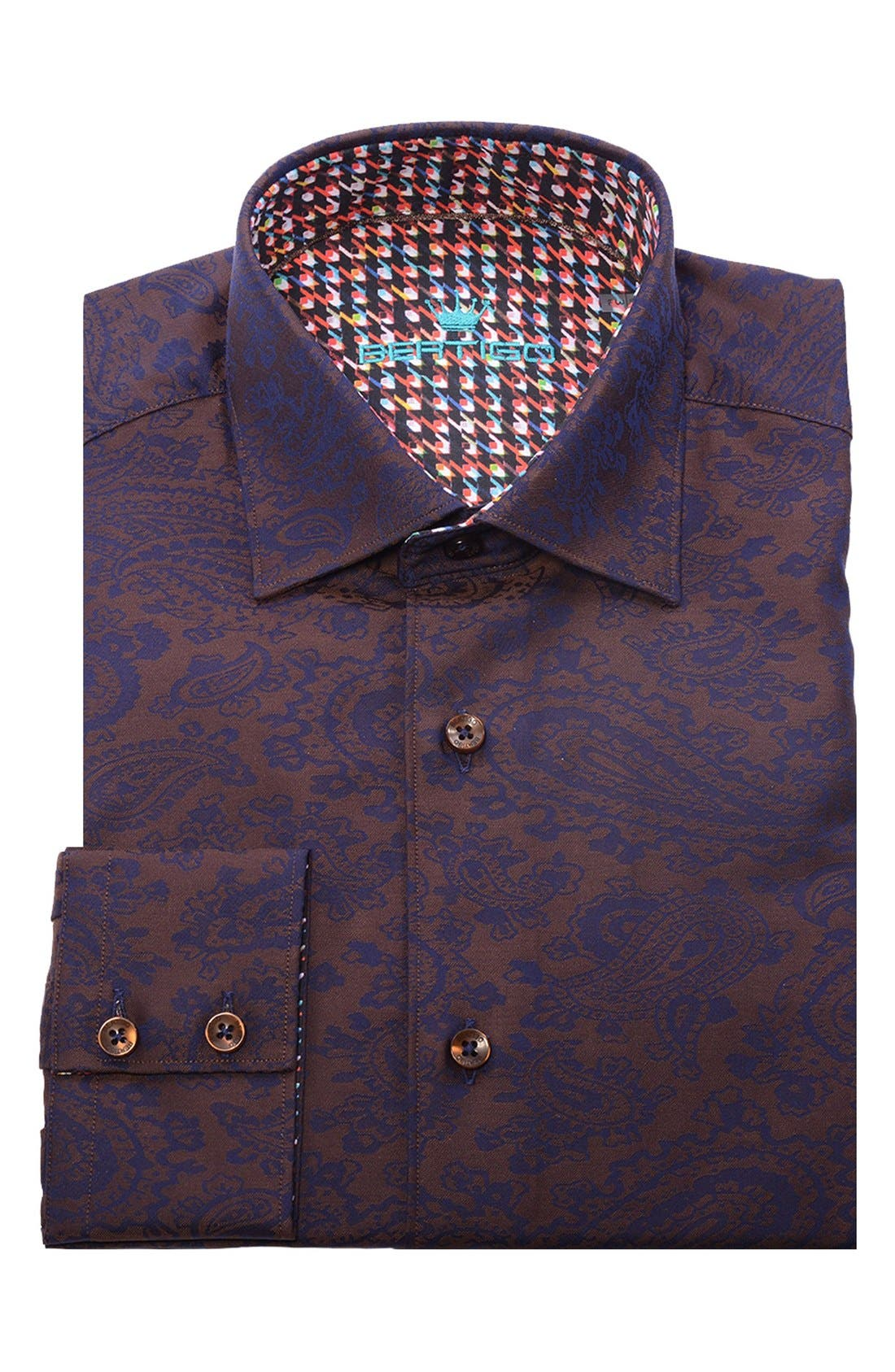 Paisley Modern Fit Sport Shirt,                             Alternate thumbnail 4, color,                             201