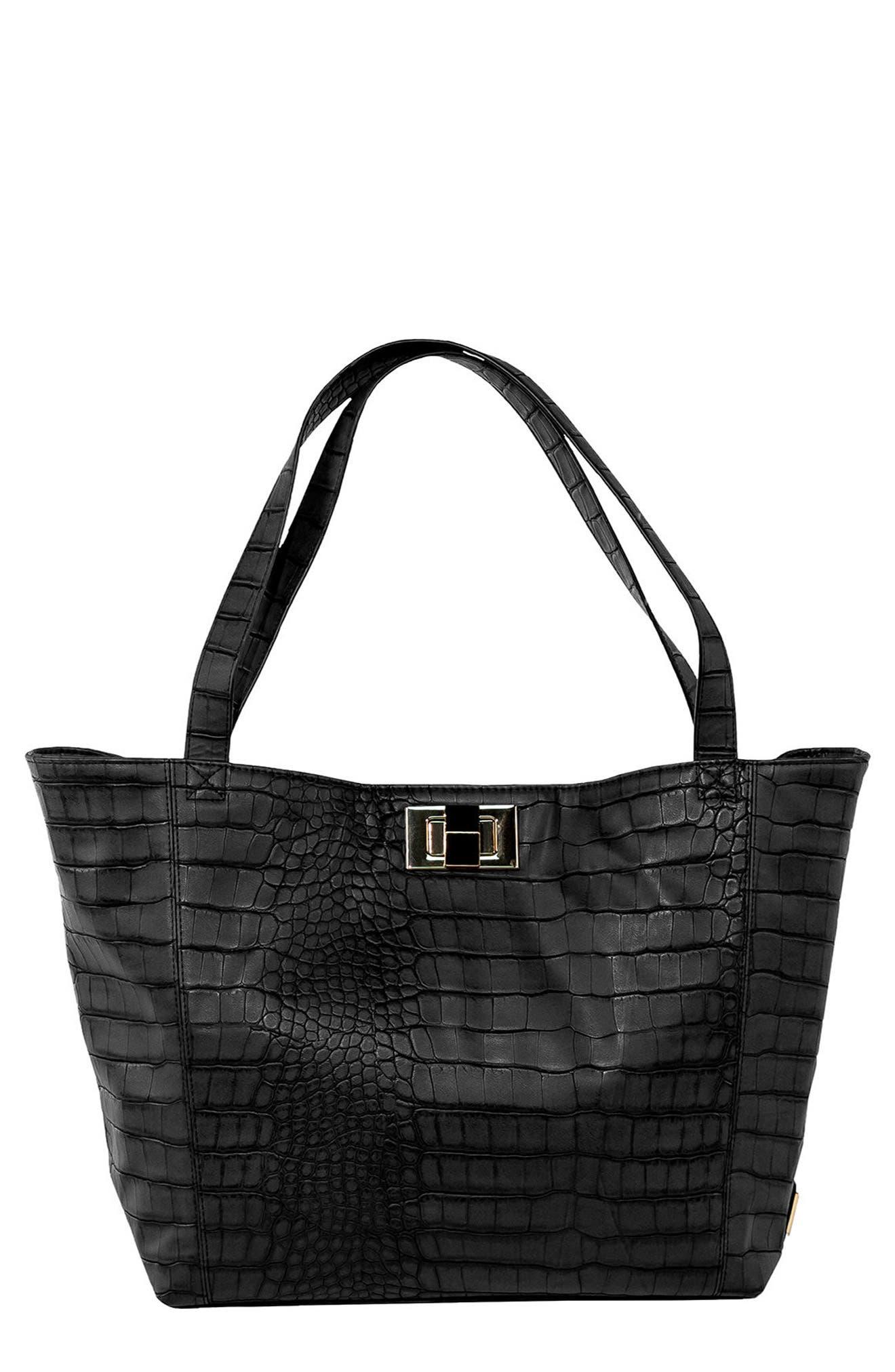 Warren Diaper Bag,                         Main,                         color, BLACK CROC