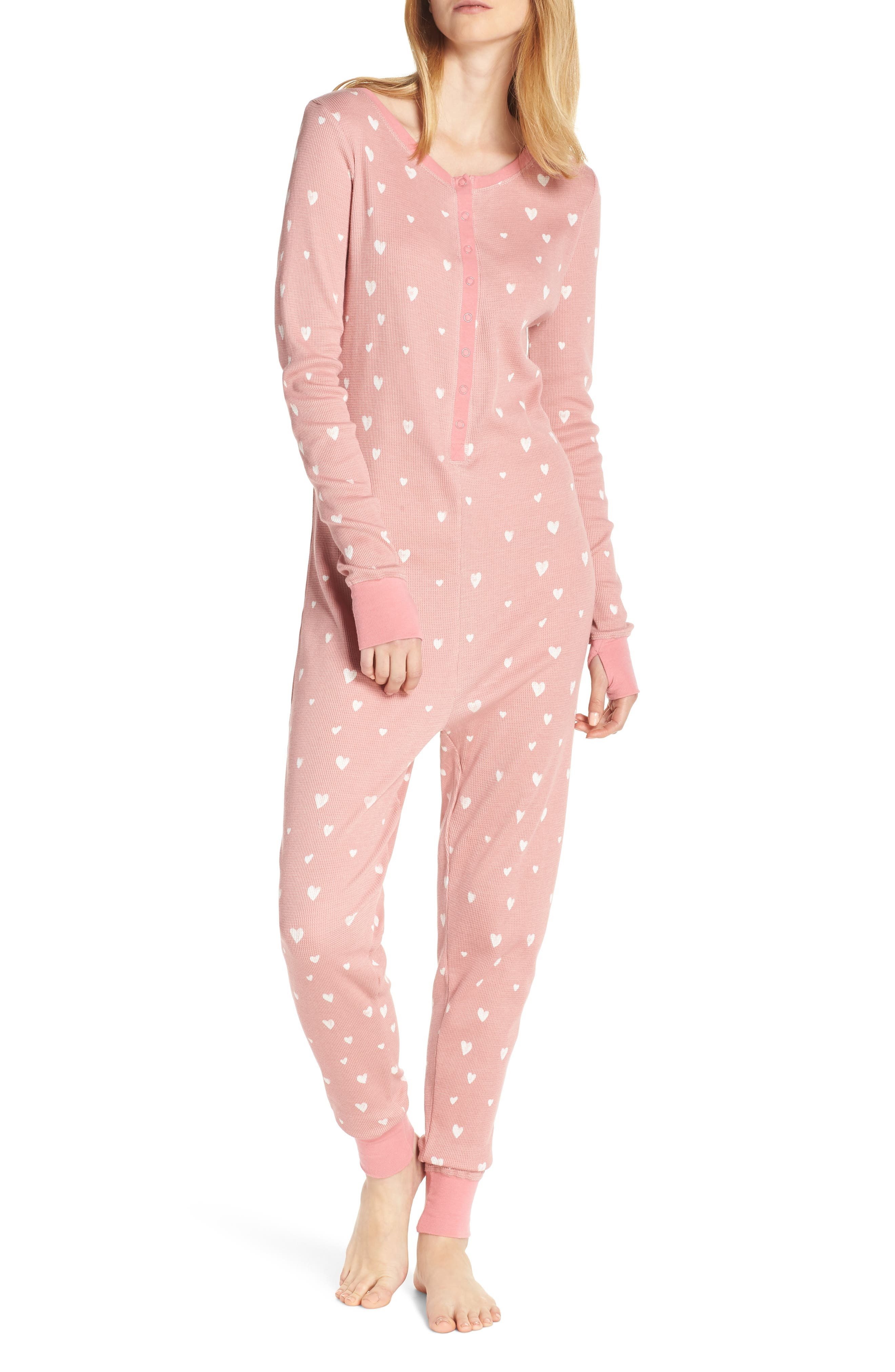 Retrospective Co. Thermal Pajama Jumpsuit, Pink