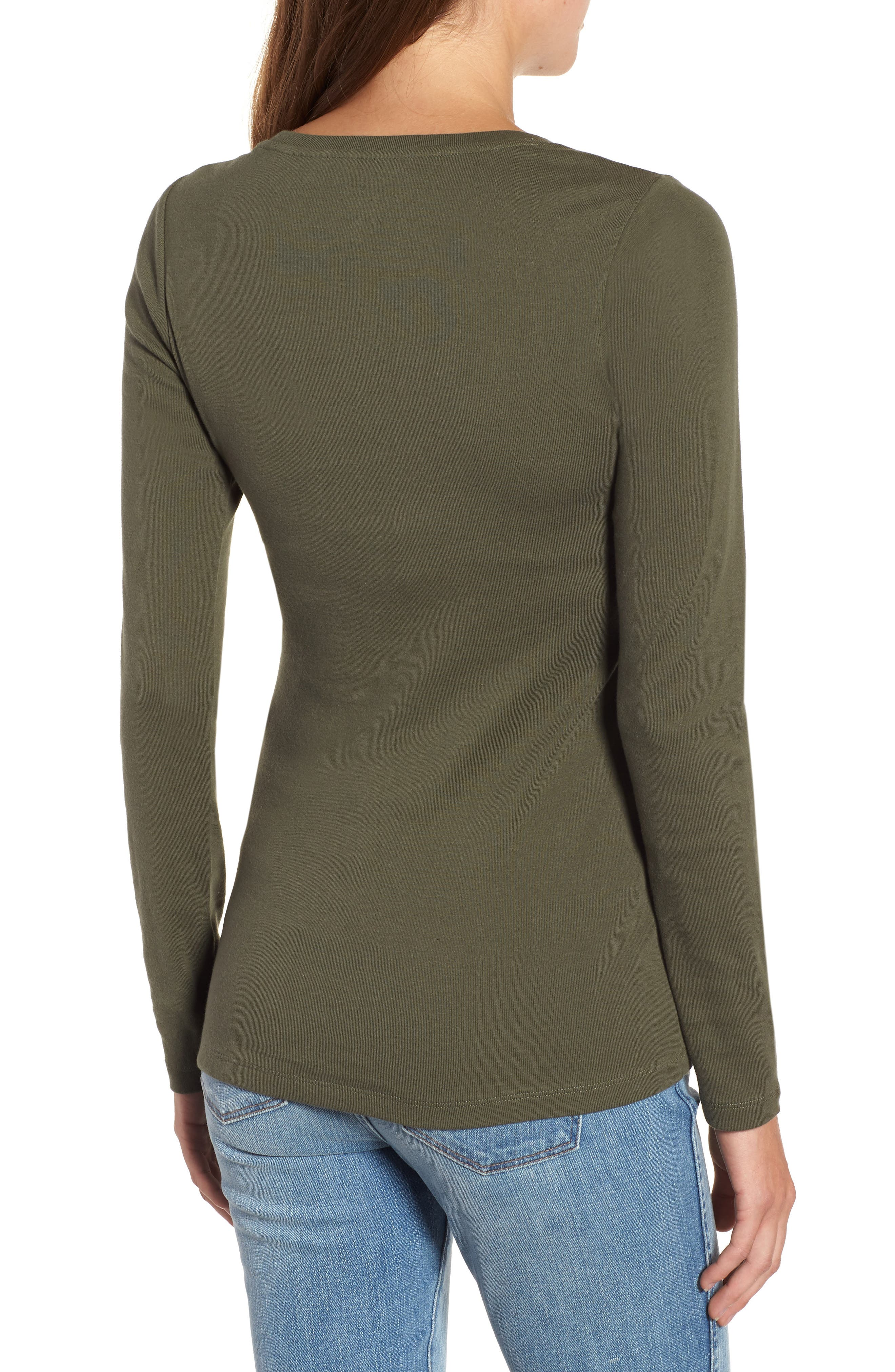 Long Sleeve Scoop Neck Cotton Tee,                             Alternate thumbnail 2, color,                             300