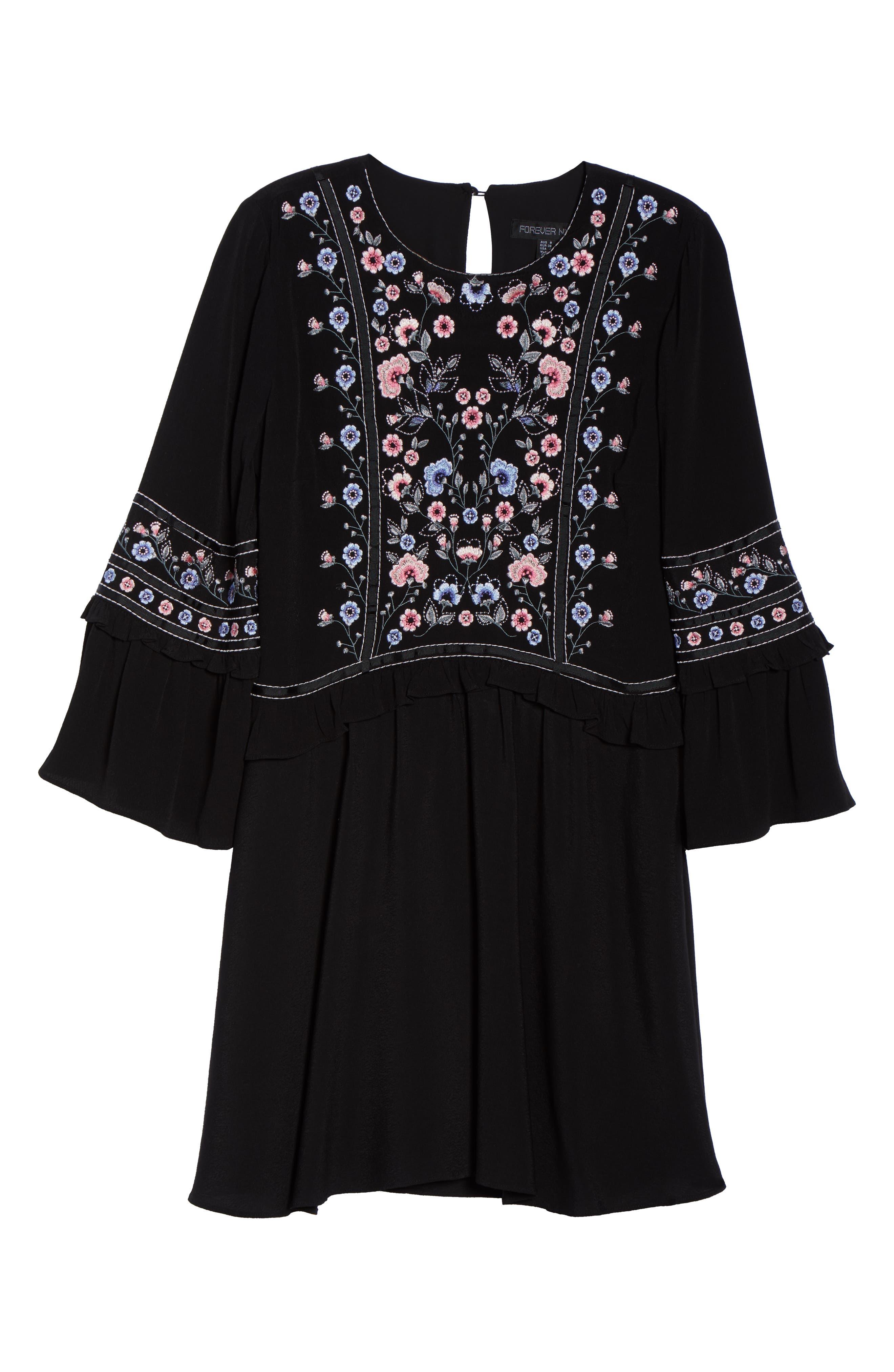 Embroidered Babydoll Dress,                             Alternate thumbnail 7, color,                             BLACK