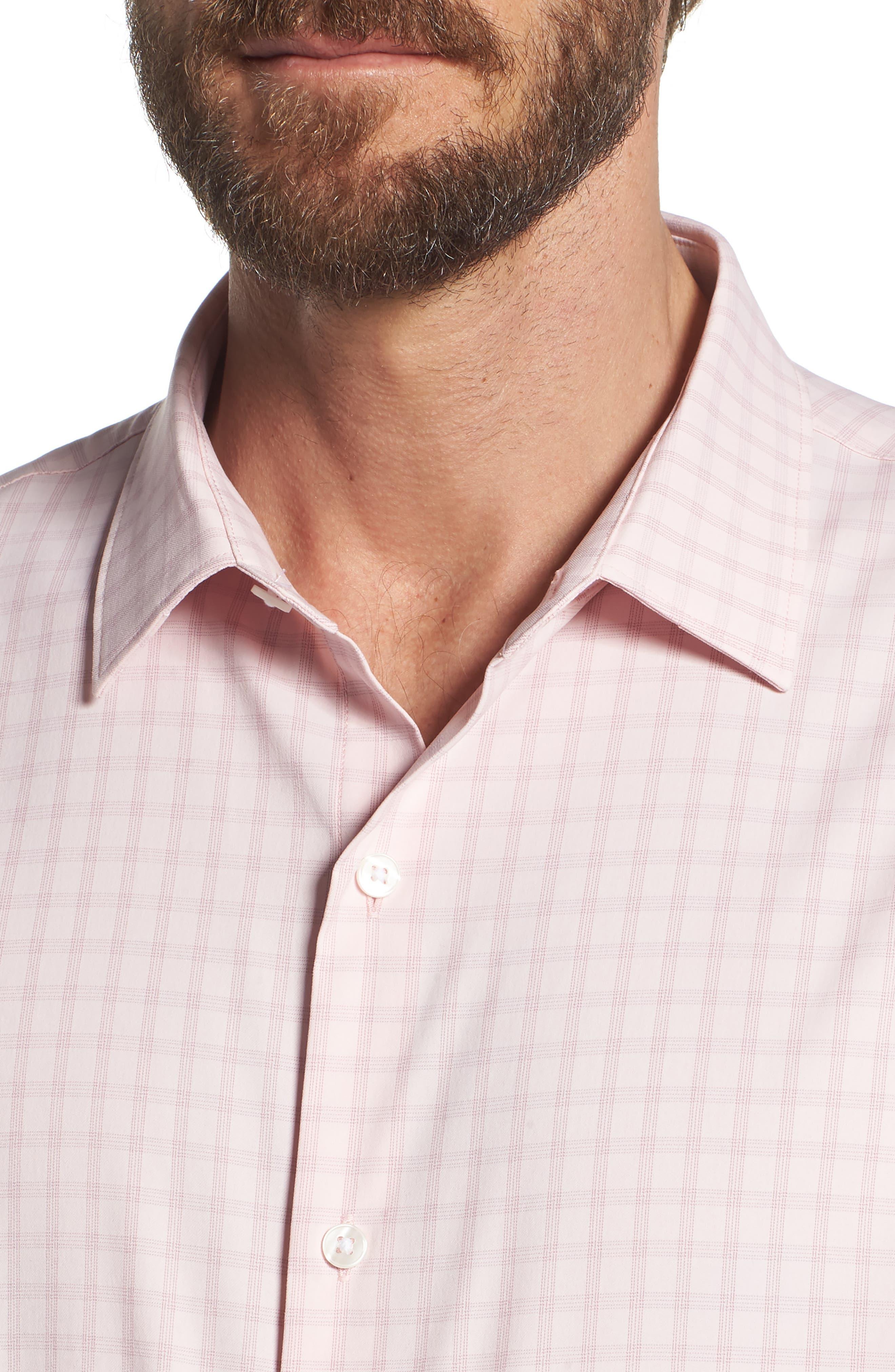 Slim Fit Check Performance Sport Shirt,                             Alternate thumbnail 4, color,                             650