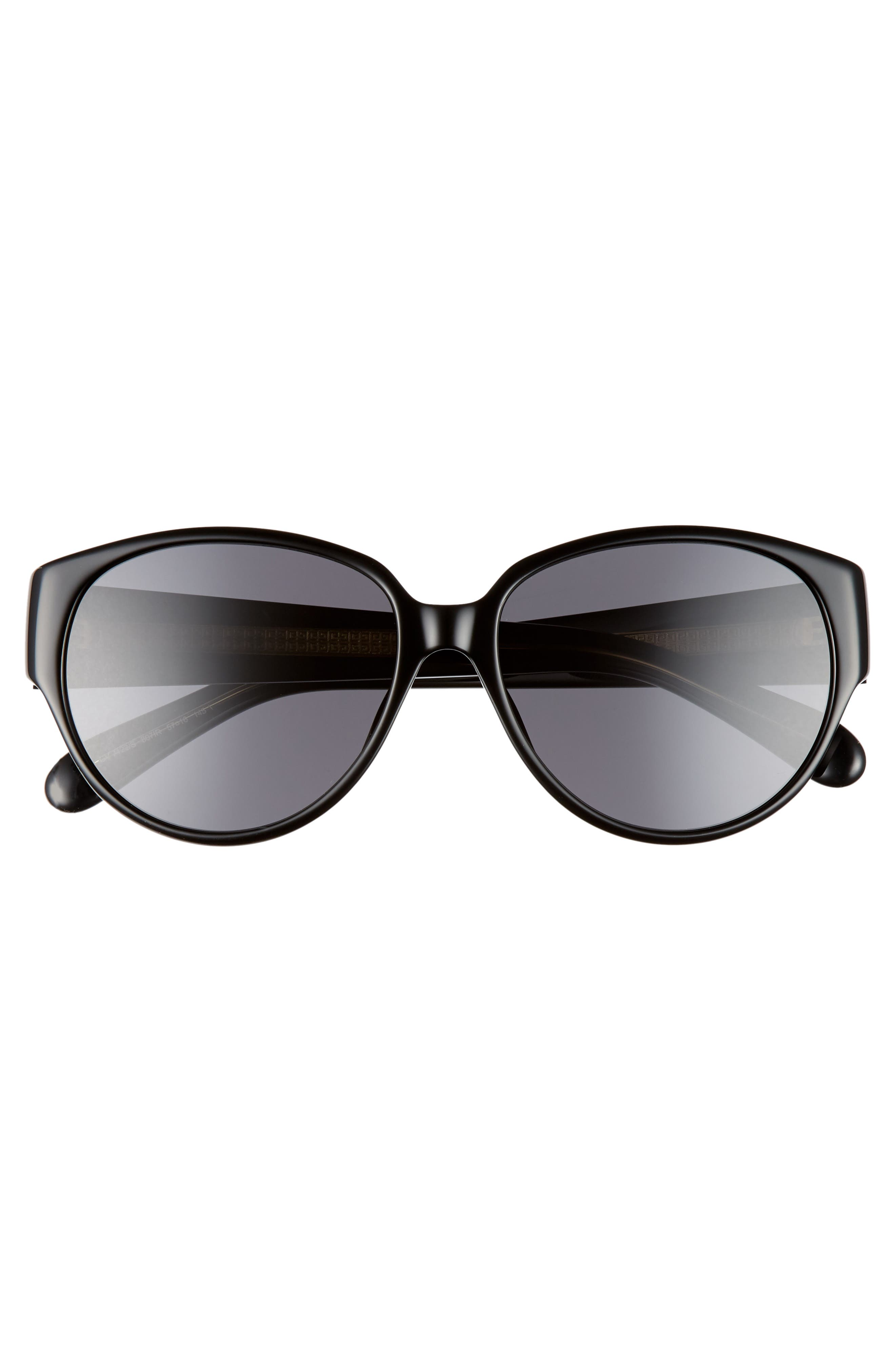 57mm Round Sunglasses,                             Alternate thumbnail 3, color,                             001