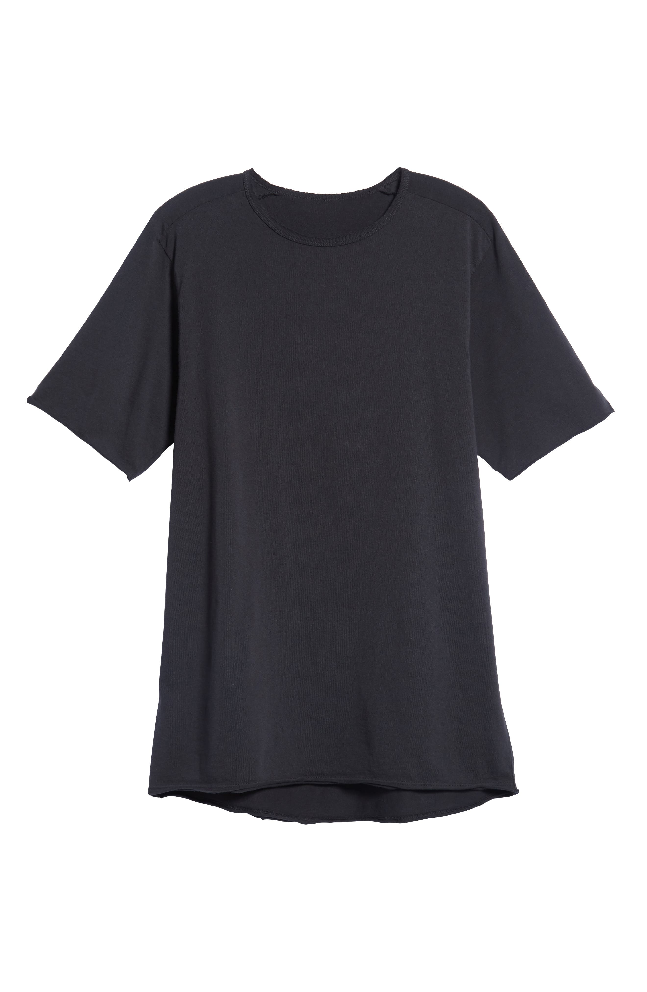 Regular Fit Elongated T-Shirt,                             Alternate thumbnail 6, color,                             BLACK