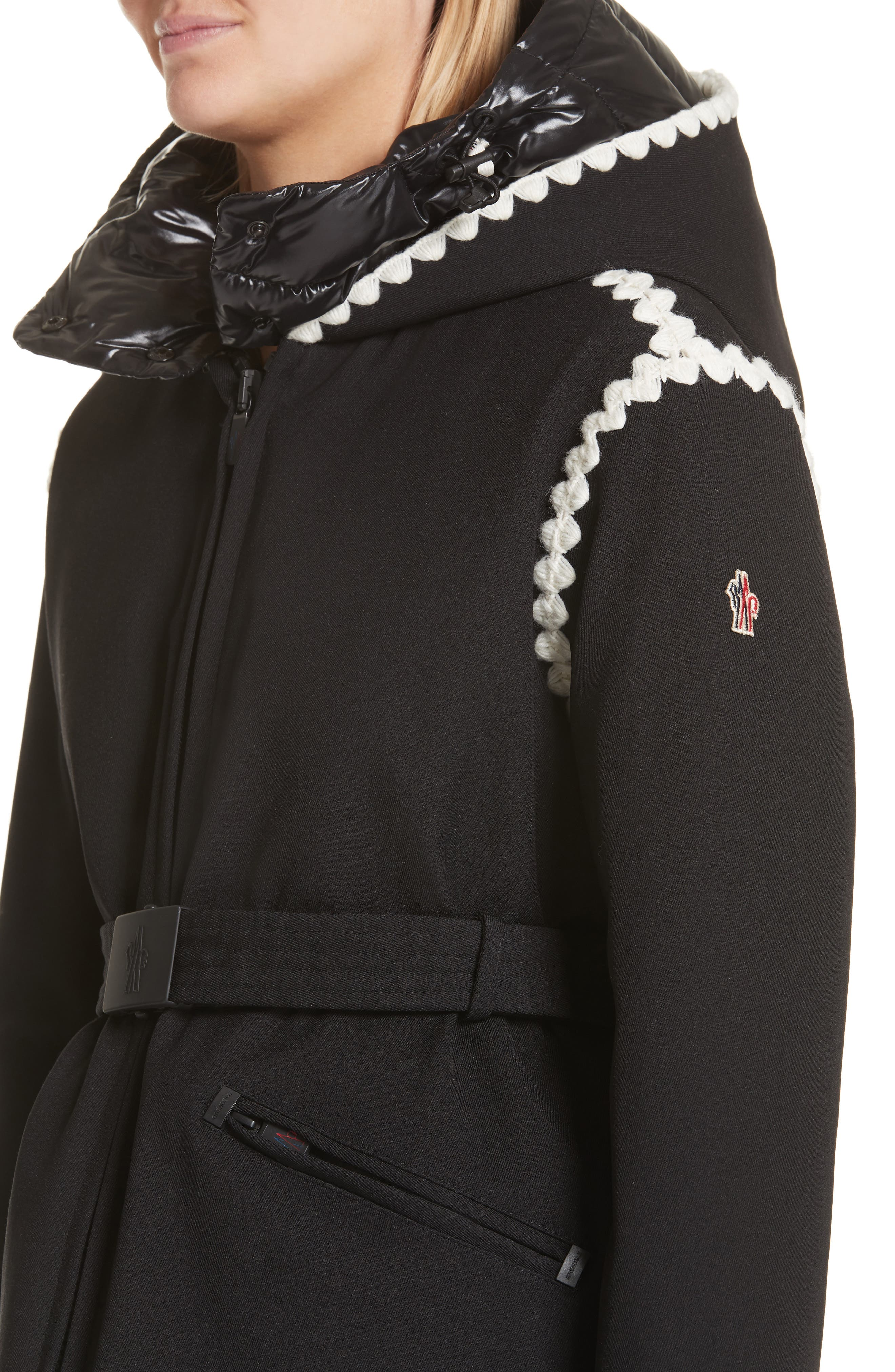 Bourget Embroidered Hooded Down Coat,                             Alternate thumbnail 4, color,                             BLACK