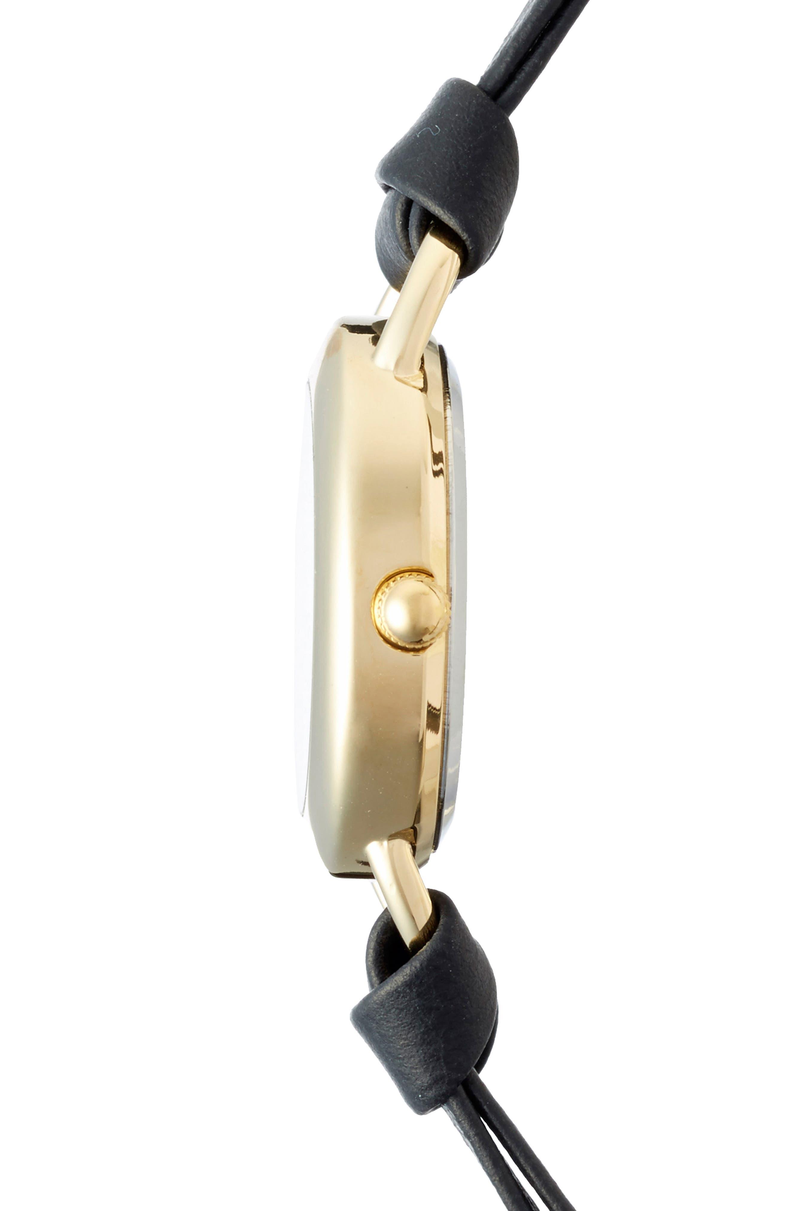 'Saturn' Leather Wrap Bracelet Watch, 22mm,                             Alternate thumbnail 4, color,                             015