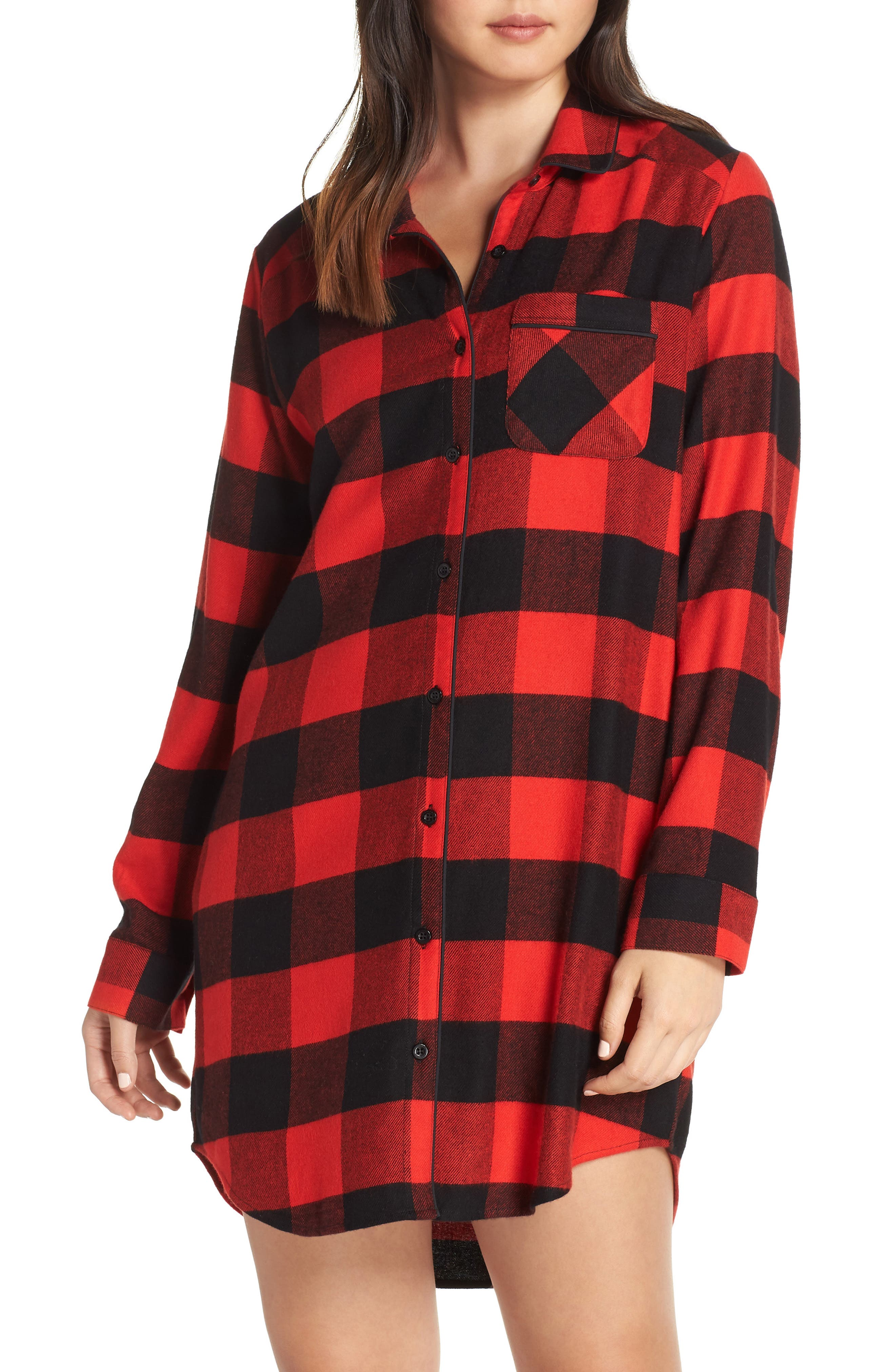 Flannel Nightshirt,                         Main,                         color, RED BLOOM LARGE BUFFALO CHECK