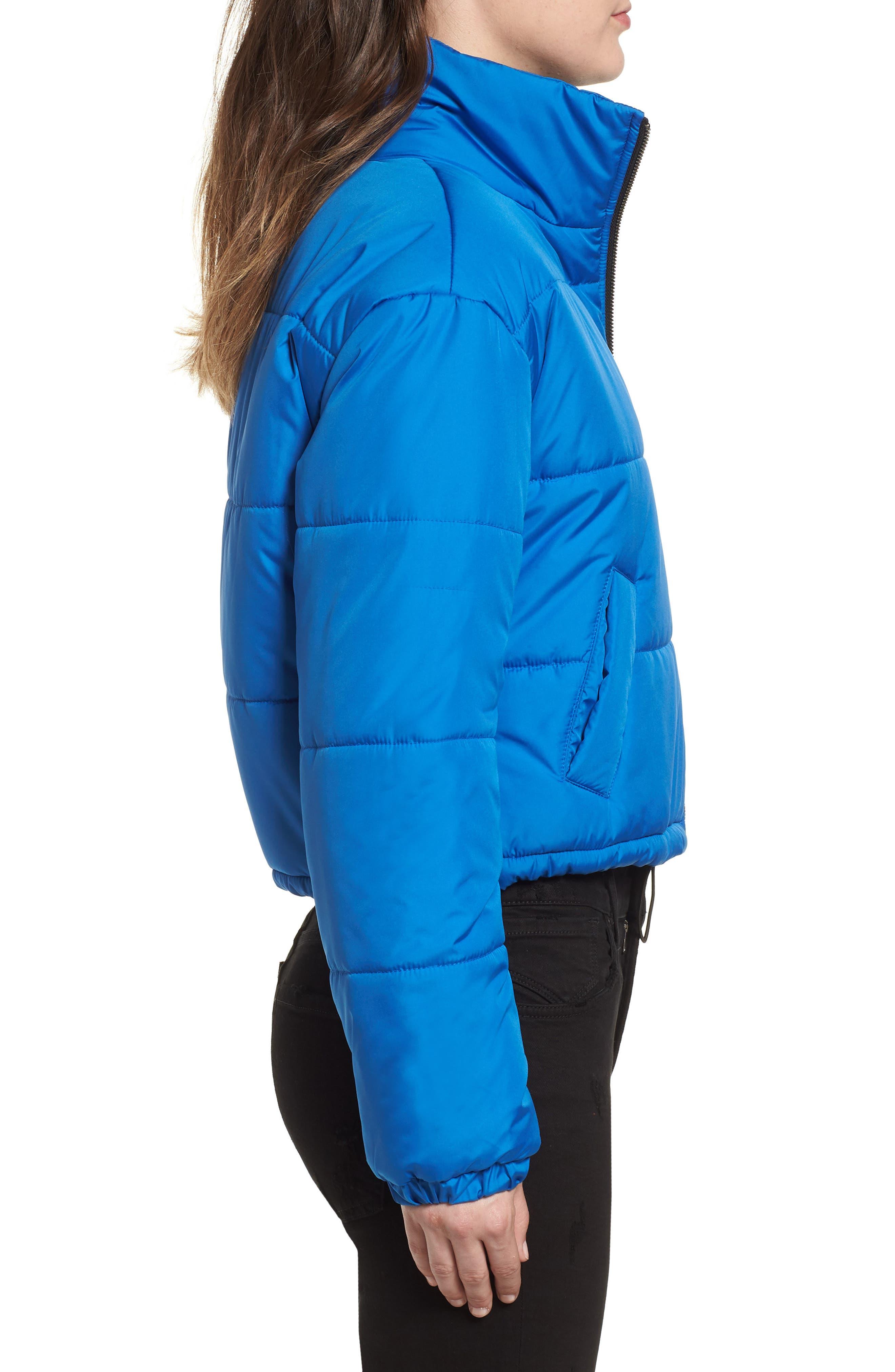 Crop Puffer Jacket,                             Alternate thumbnail 4, color,                             BLUE BOAT