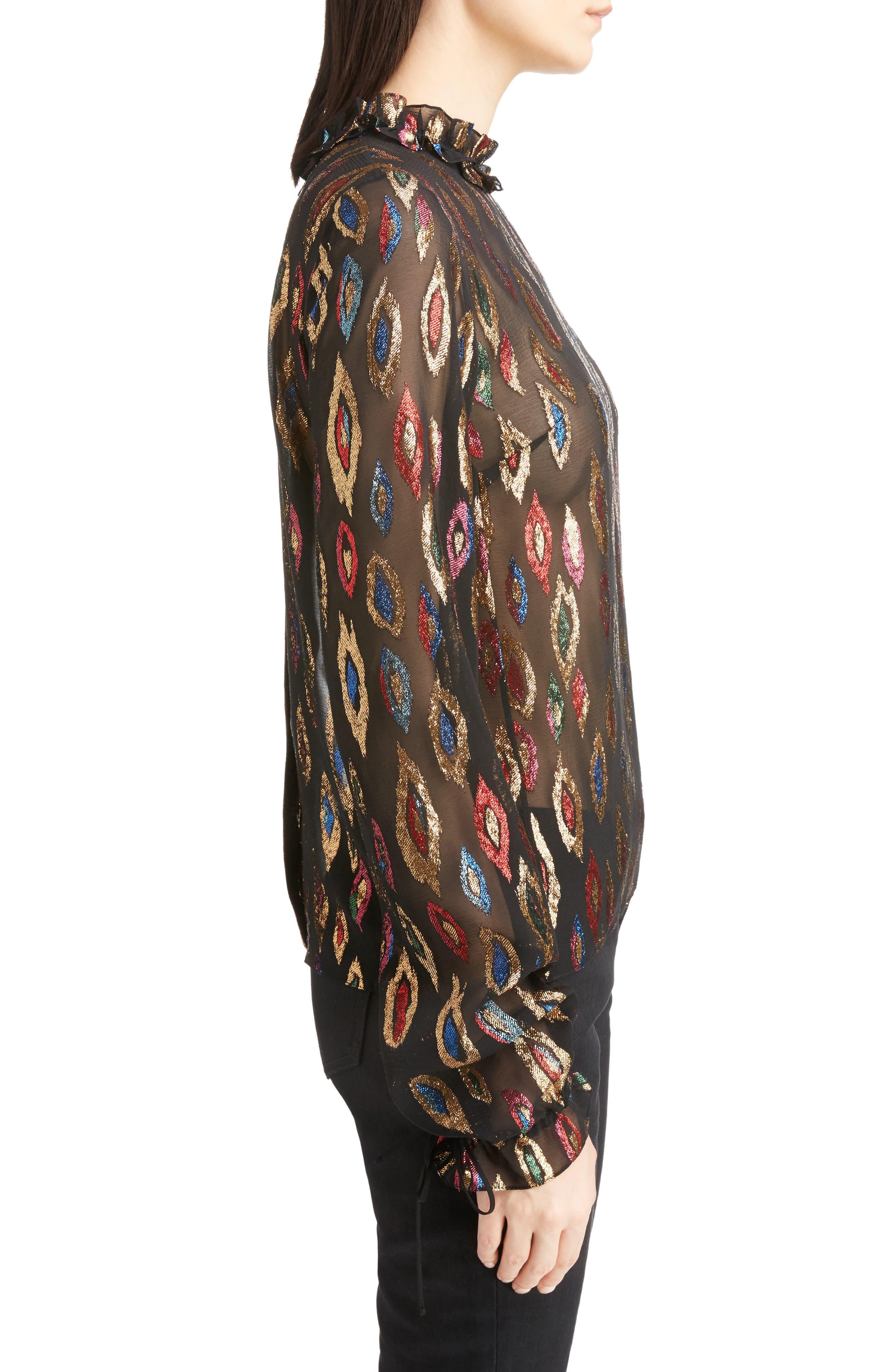 Flame Fil Coupé Silk Blouse,                             Alternate thumbnail 3, color,                             001