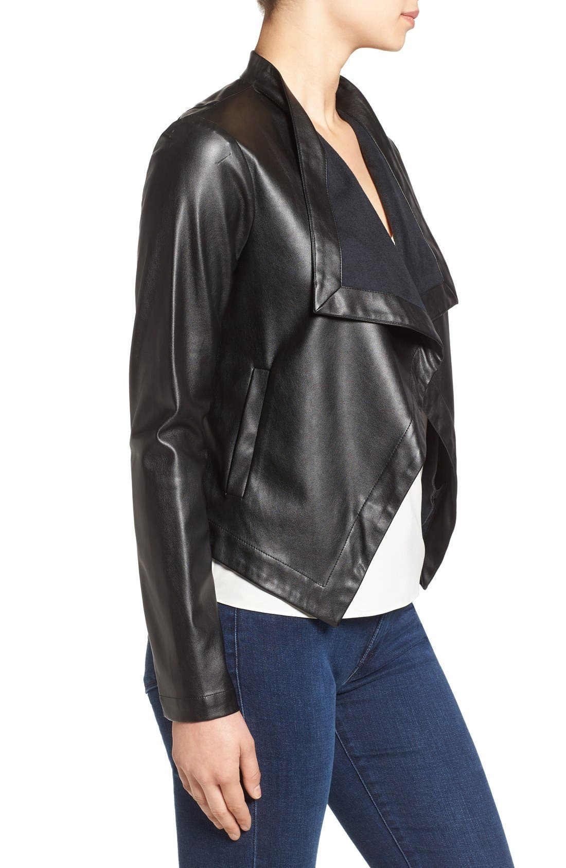 'Peppin' Drape Front Faux Leather Jacket,                             Alternate thumbnail 20, color,