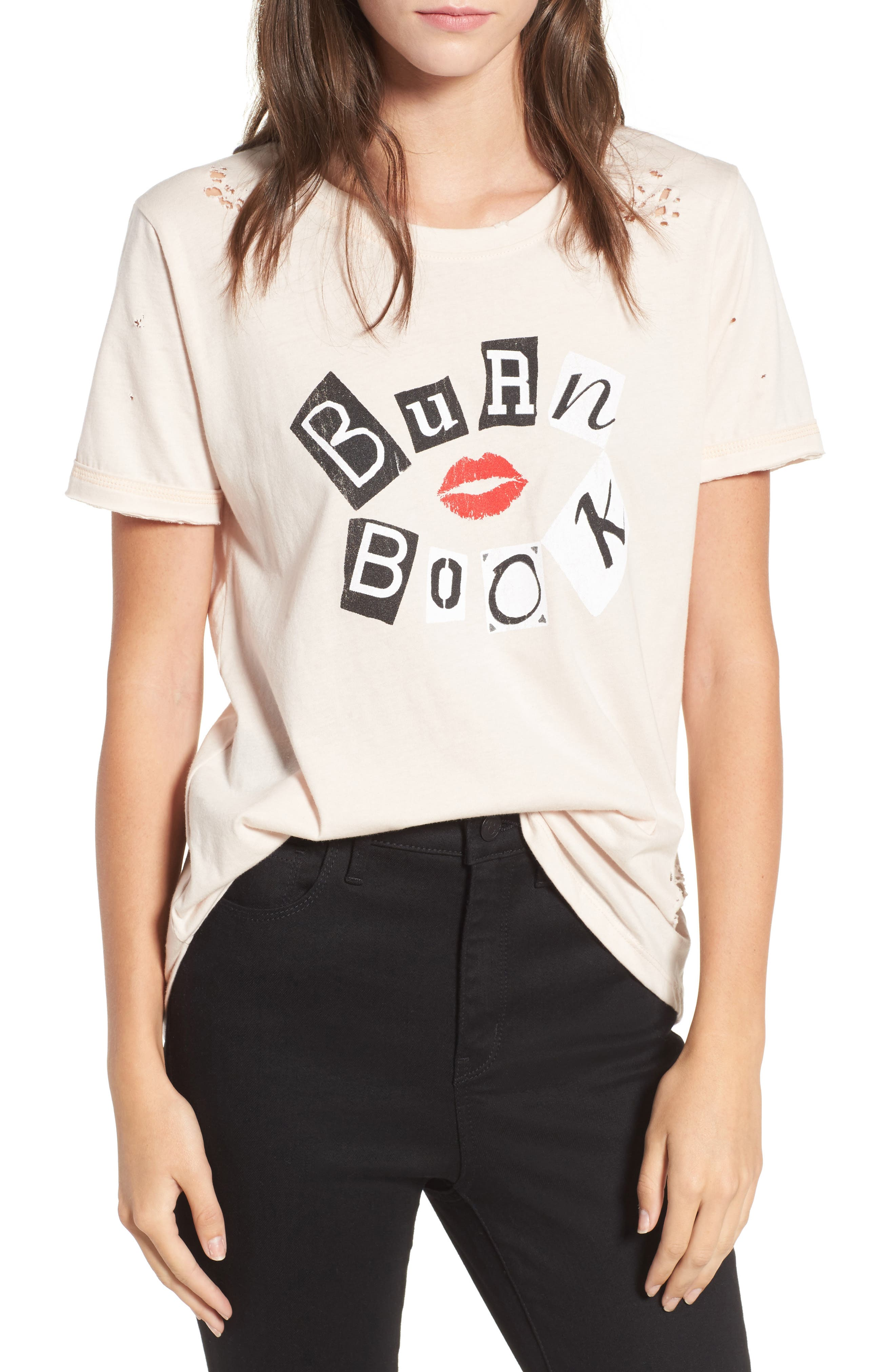 x Mean Girls Burn Book Distressed Tee,                             Main thumbnail 1, color,                             950