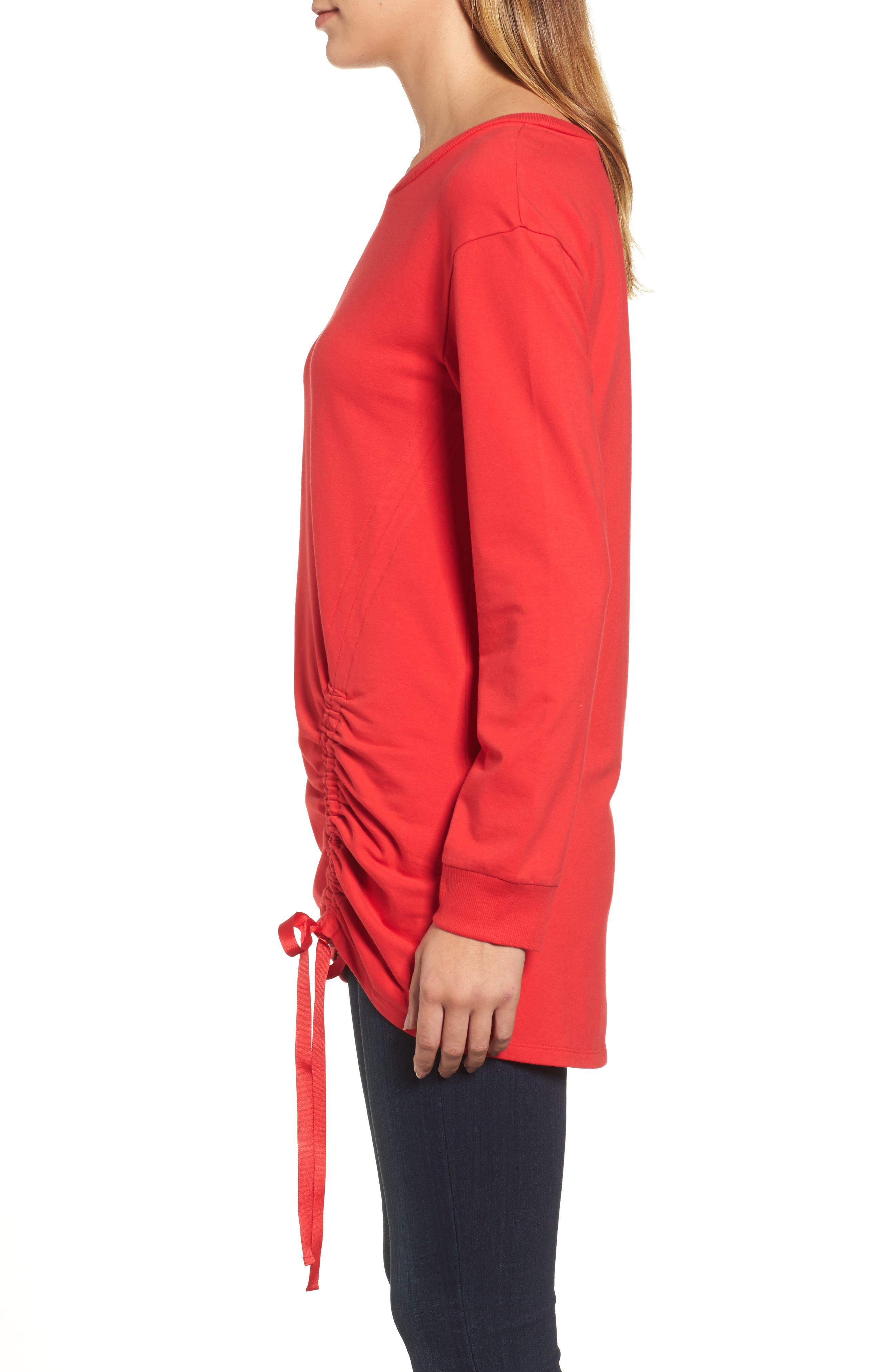 Ruched Front Tunic Sweatshirt,                             Alternate thumbnail 9, color,